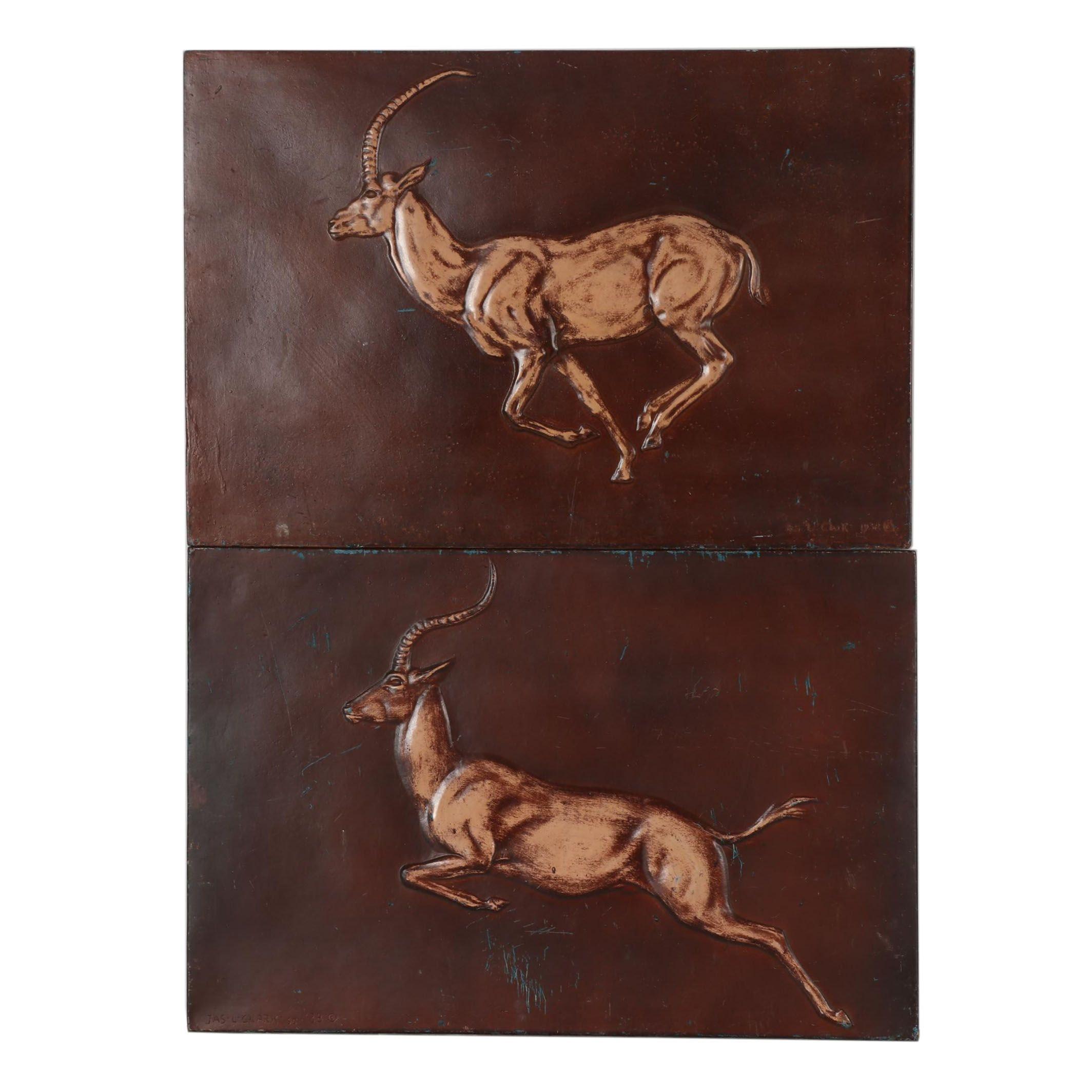 Metal Reliefs after James Lippitt Clark of Antelopes