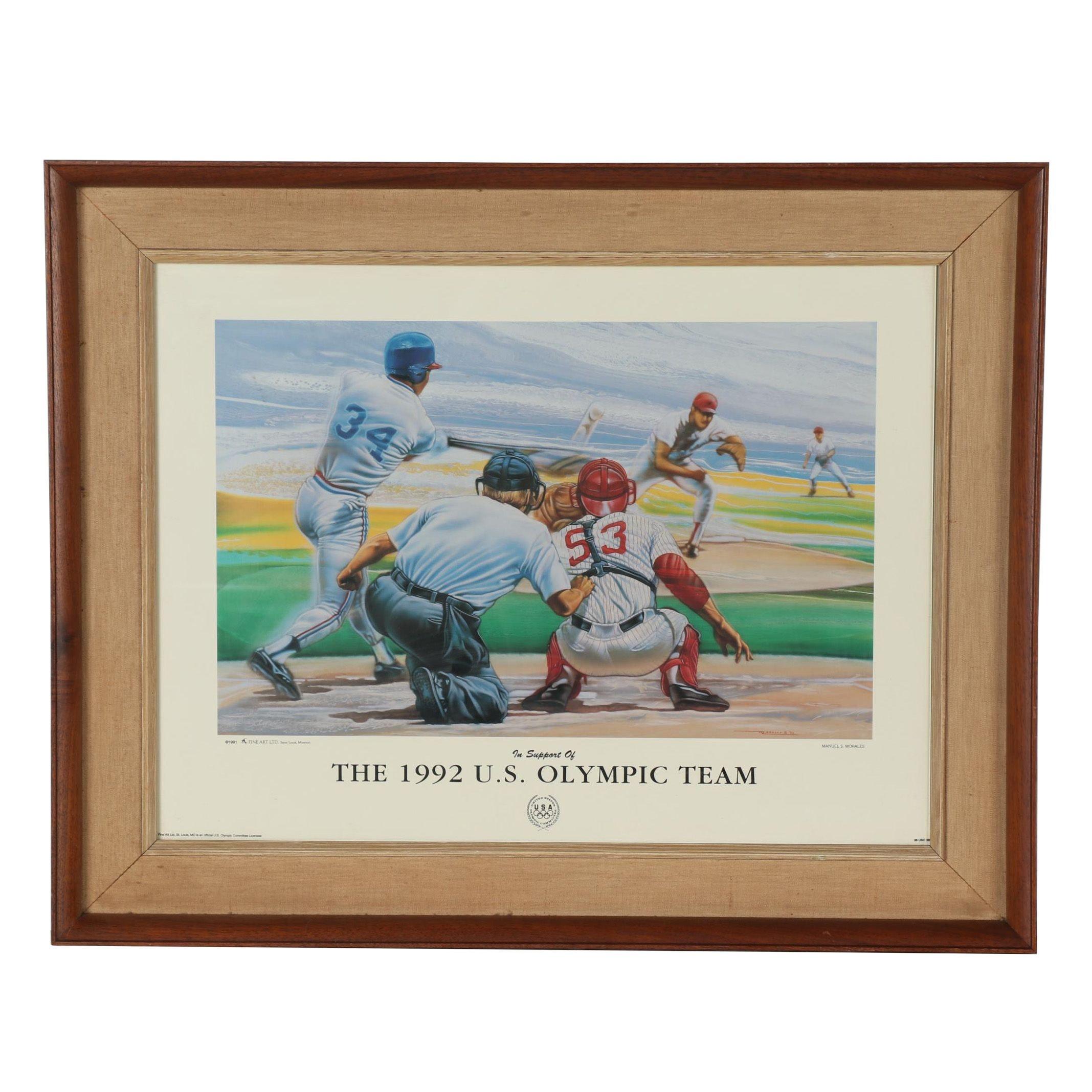 1992 U.S. Olympic Baseball Team Poster after Manuel Morales