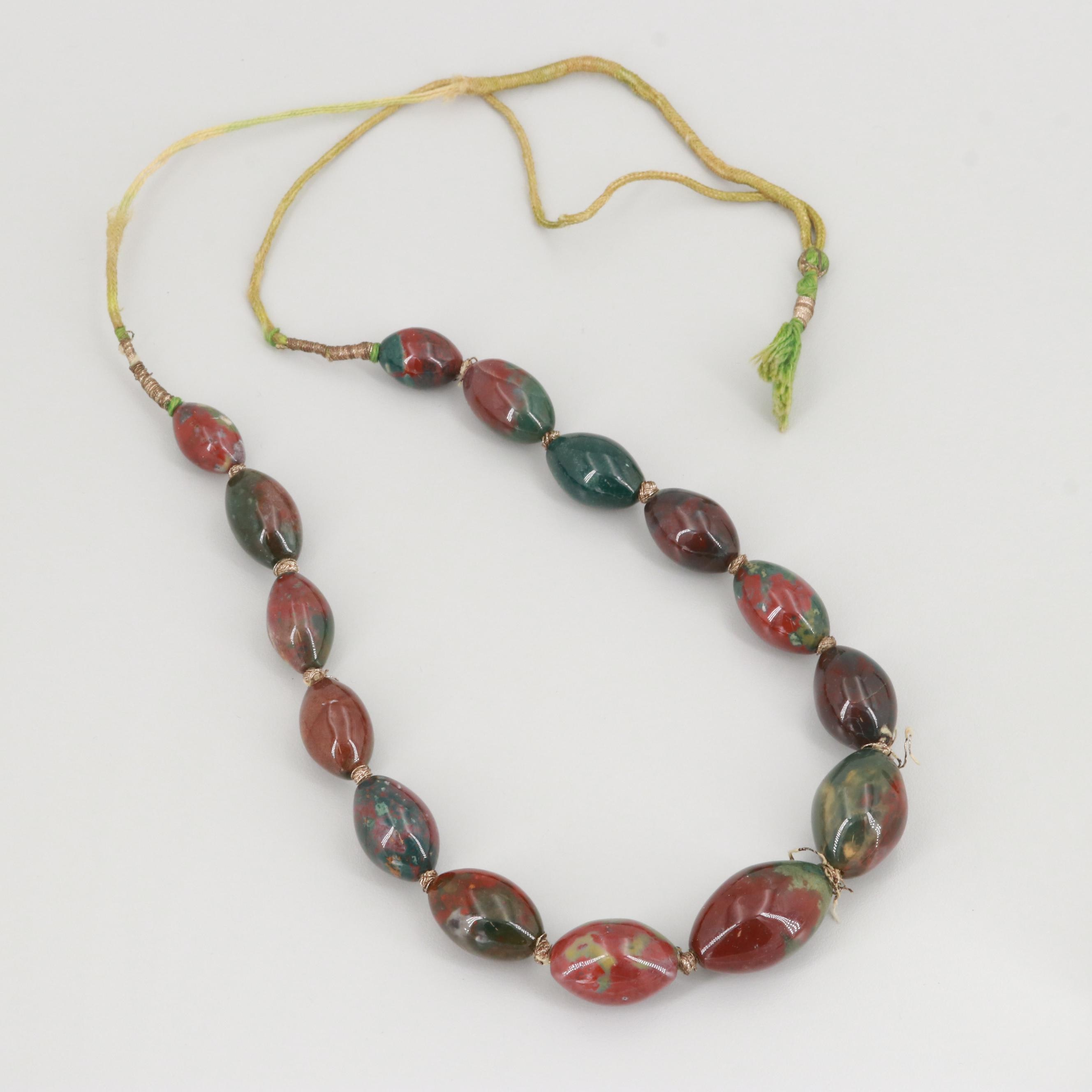 Hand Knotted Jasper Beaded Necklace
