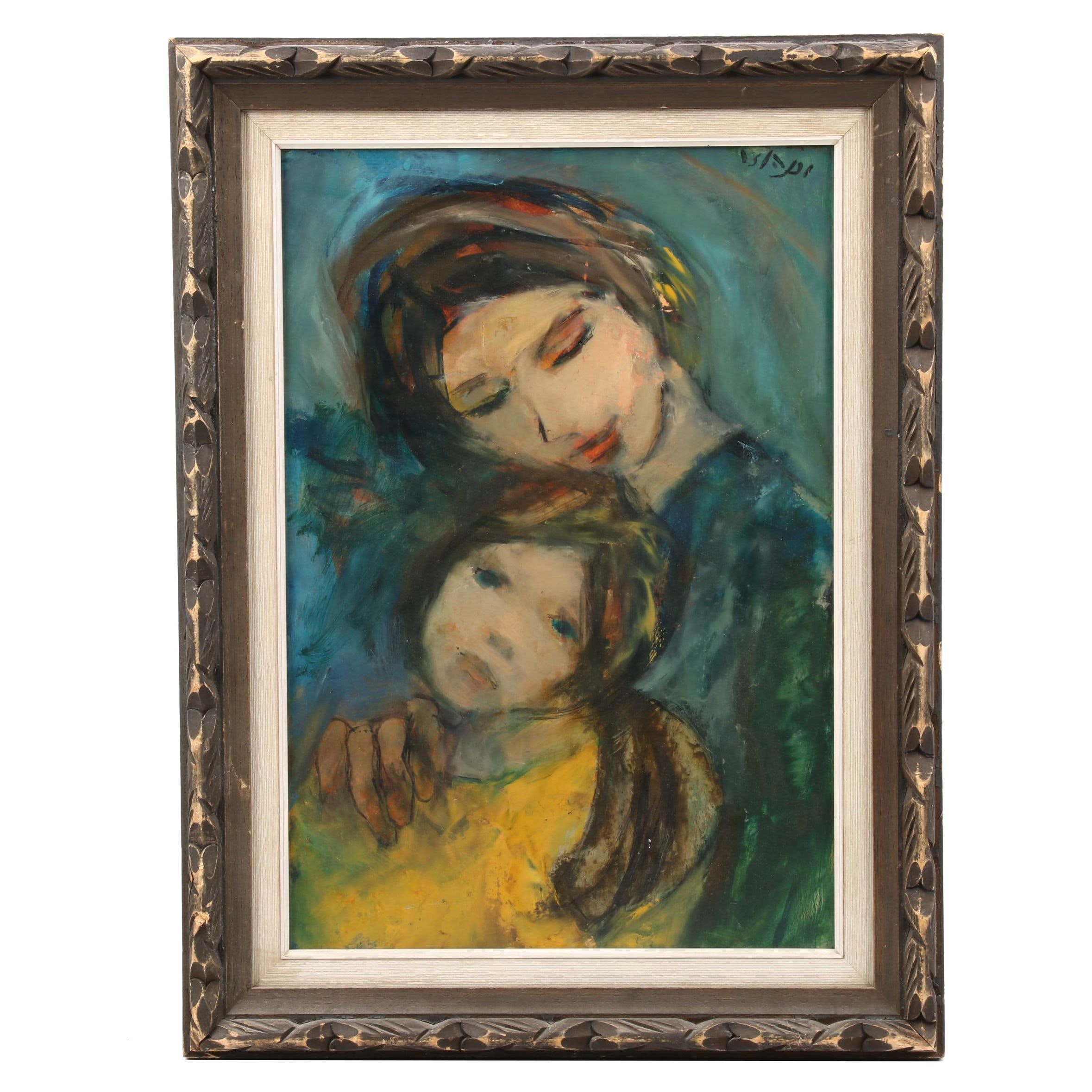 Oil Portrait Painting of Mother and Child