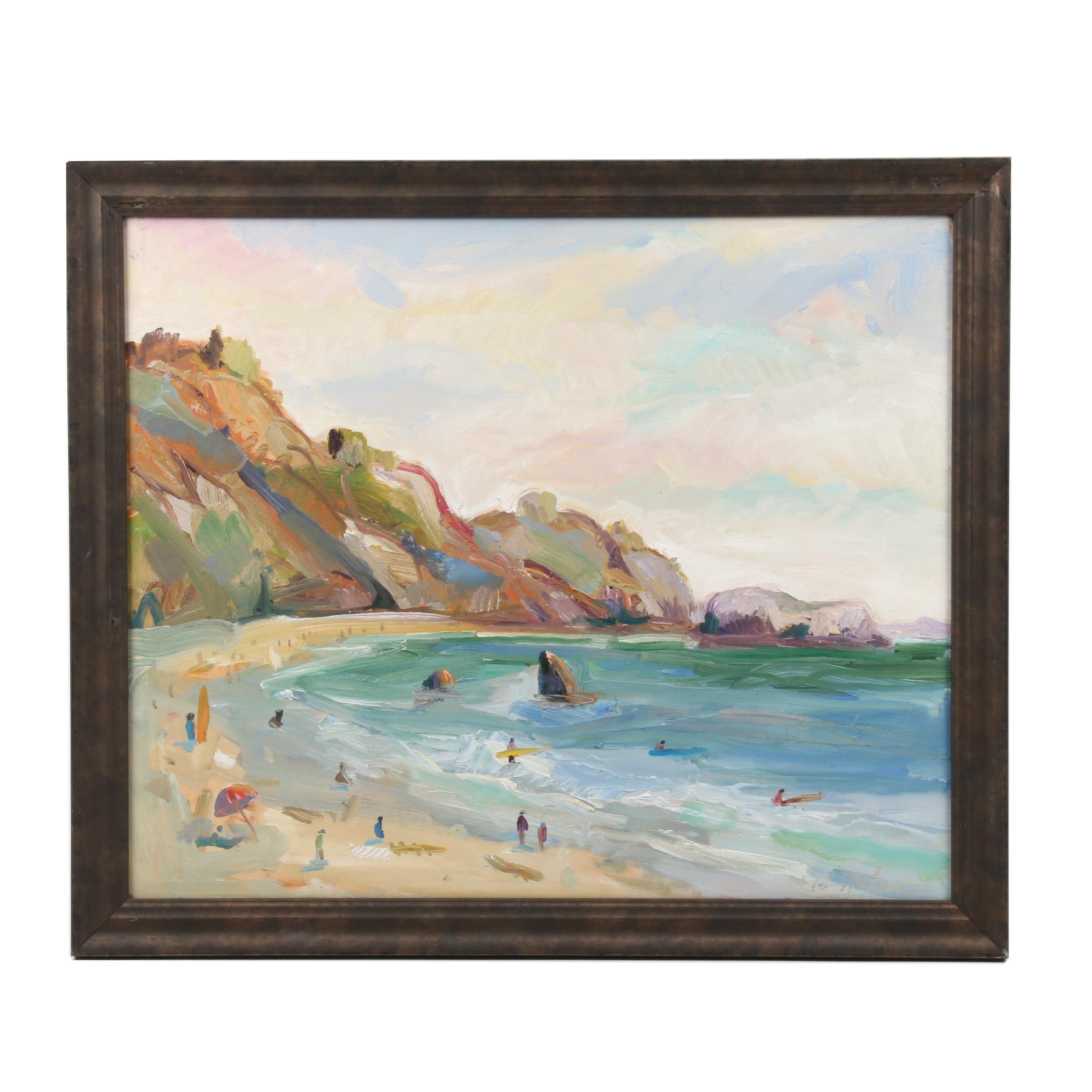 """Lauren Hartman Oil Painting """"Rodeo Beach"""""""