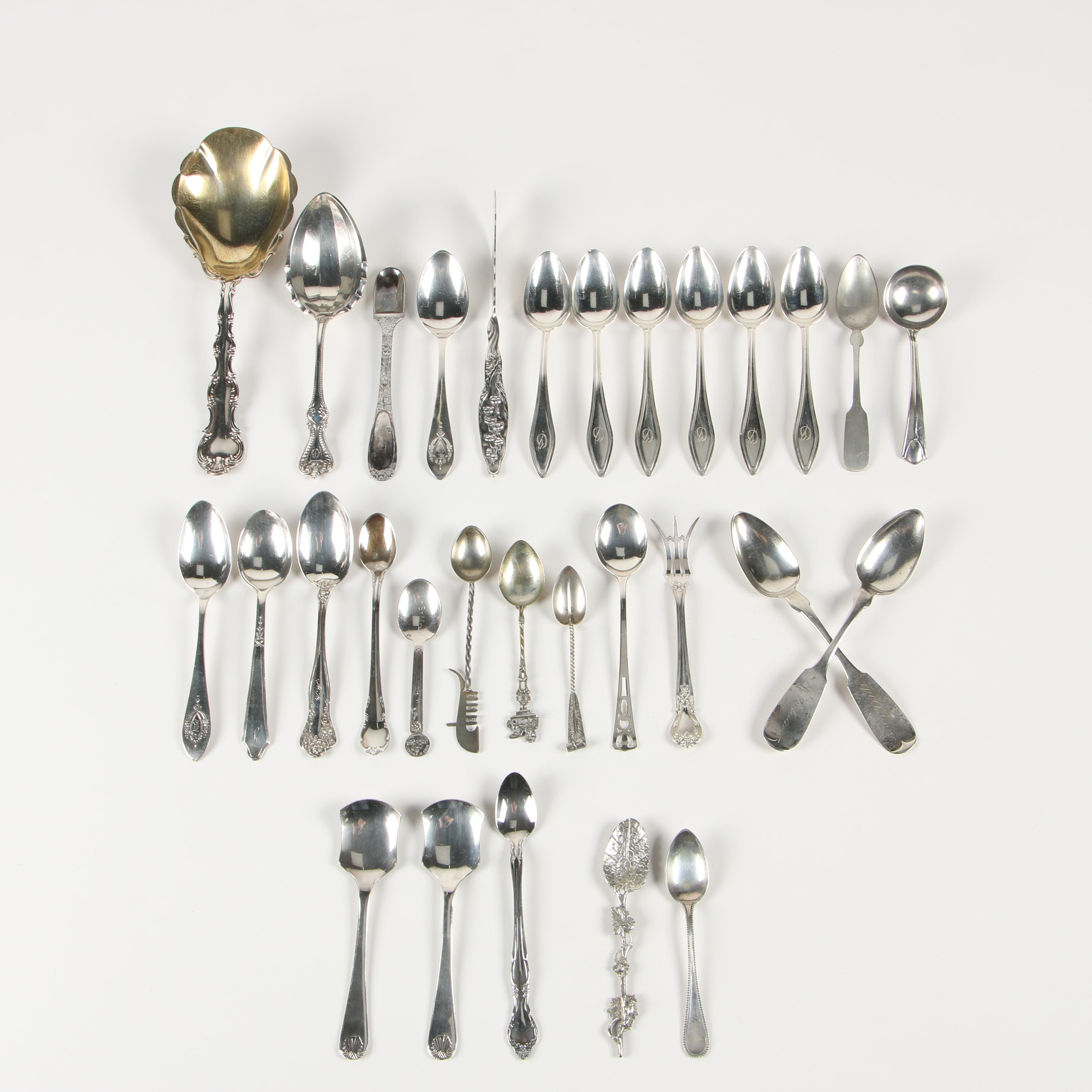Assorted Sterling Silver, Coin Silver, 800 Silver, and Silver-Plated Flatware