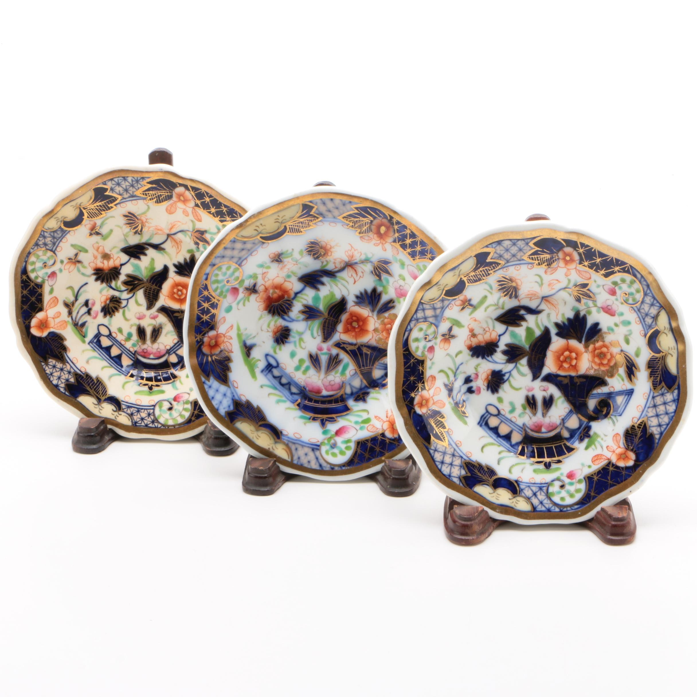 English Imari Style Porcelain Saucers with Stands, 19th Century