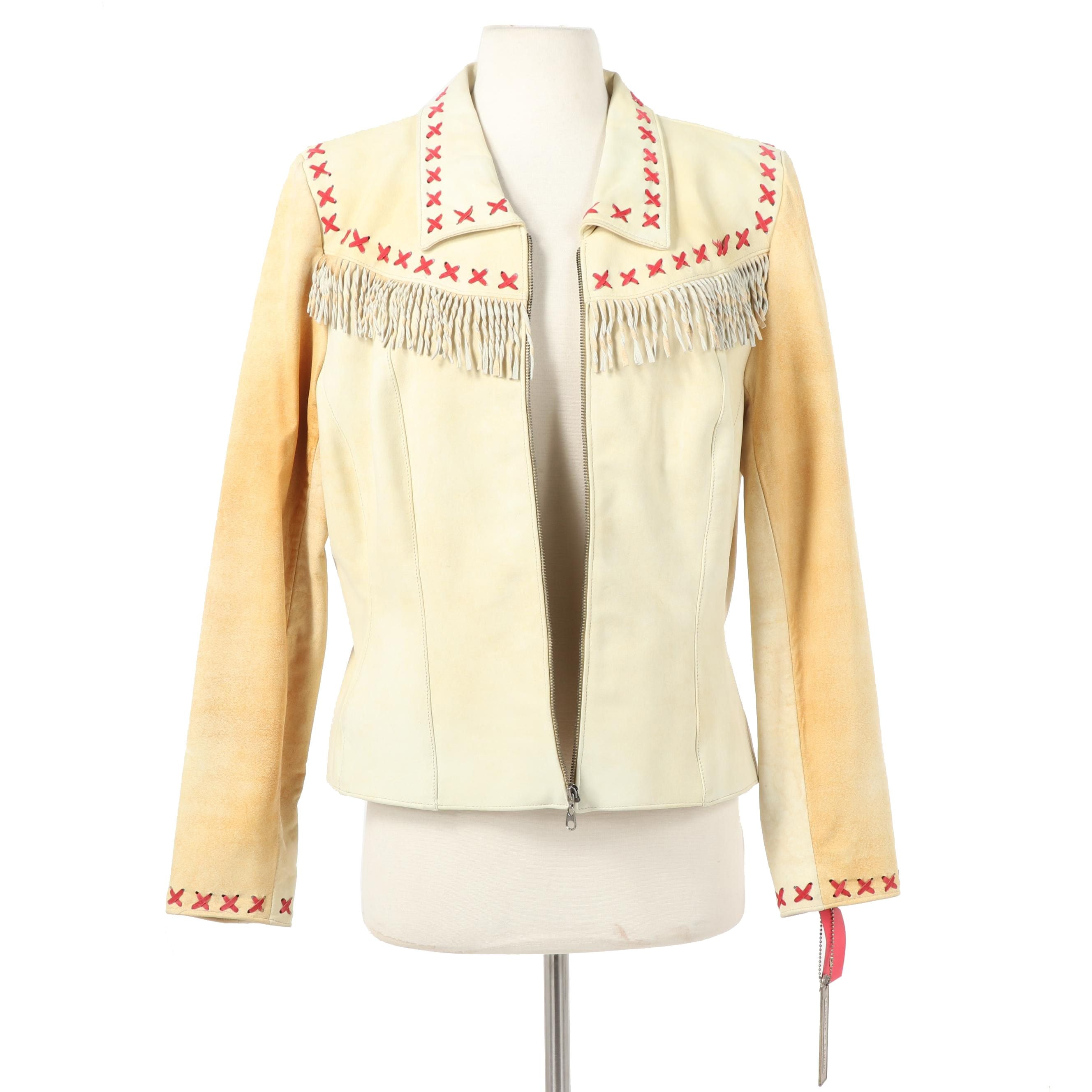 "Double D Ranch of Yoakum, Texas ""Pitchin' a Fit"" Leather Fringe Jacket"