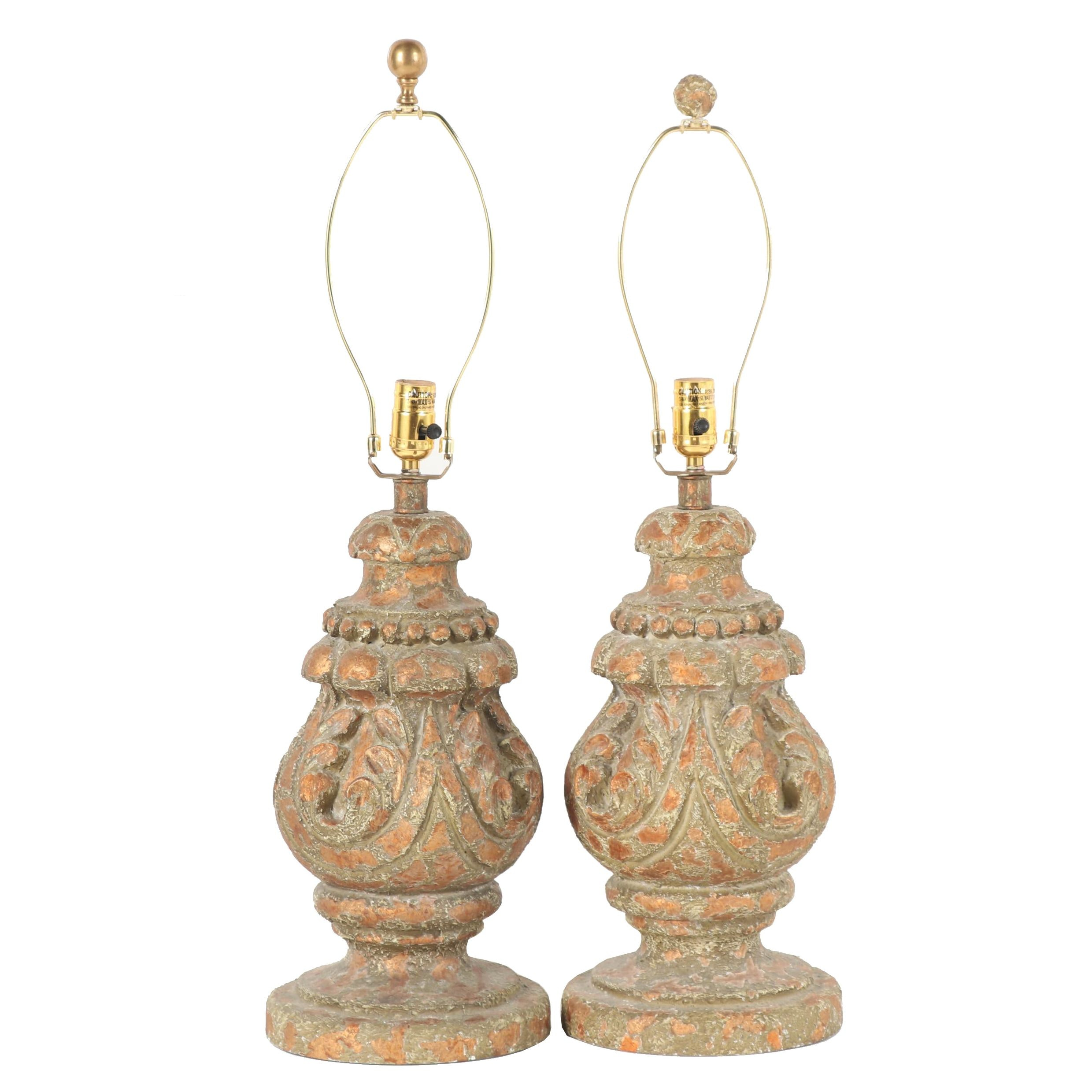 Faux Wood Plaster Table Lamps