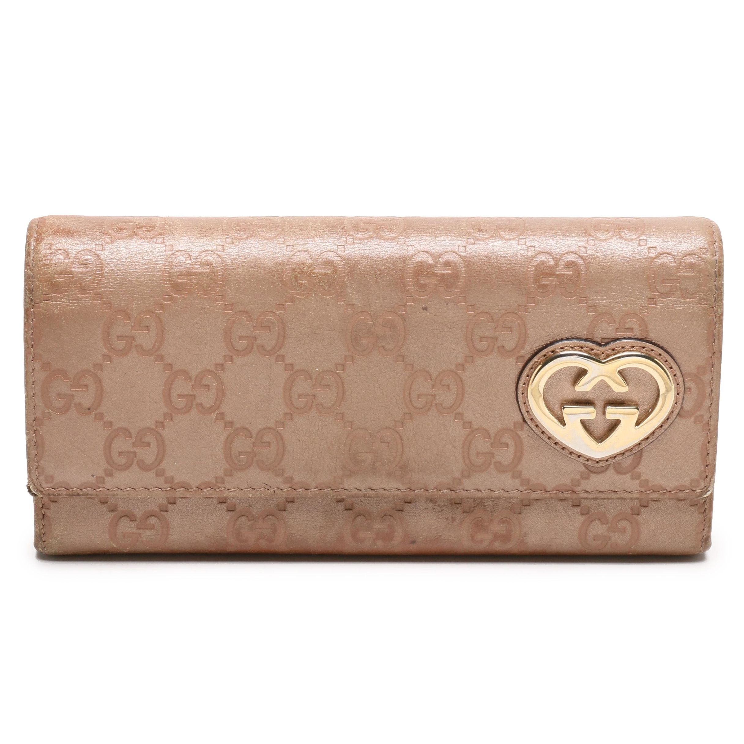 Gucci Dusty Pink Guccissima Leather Wallet