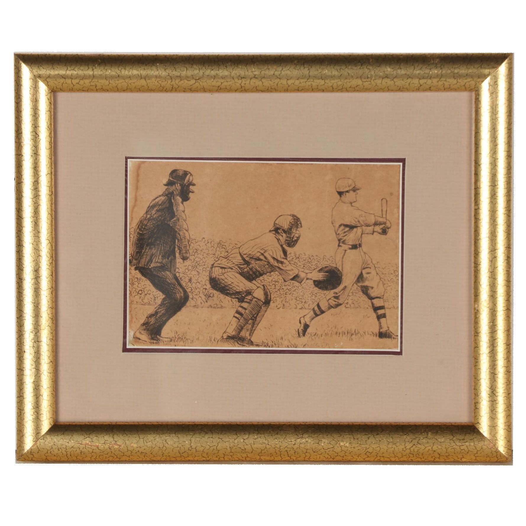 Early 20th Century Baseball Etching