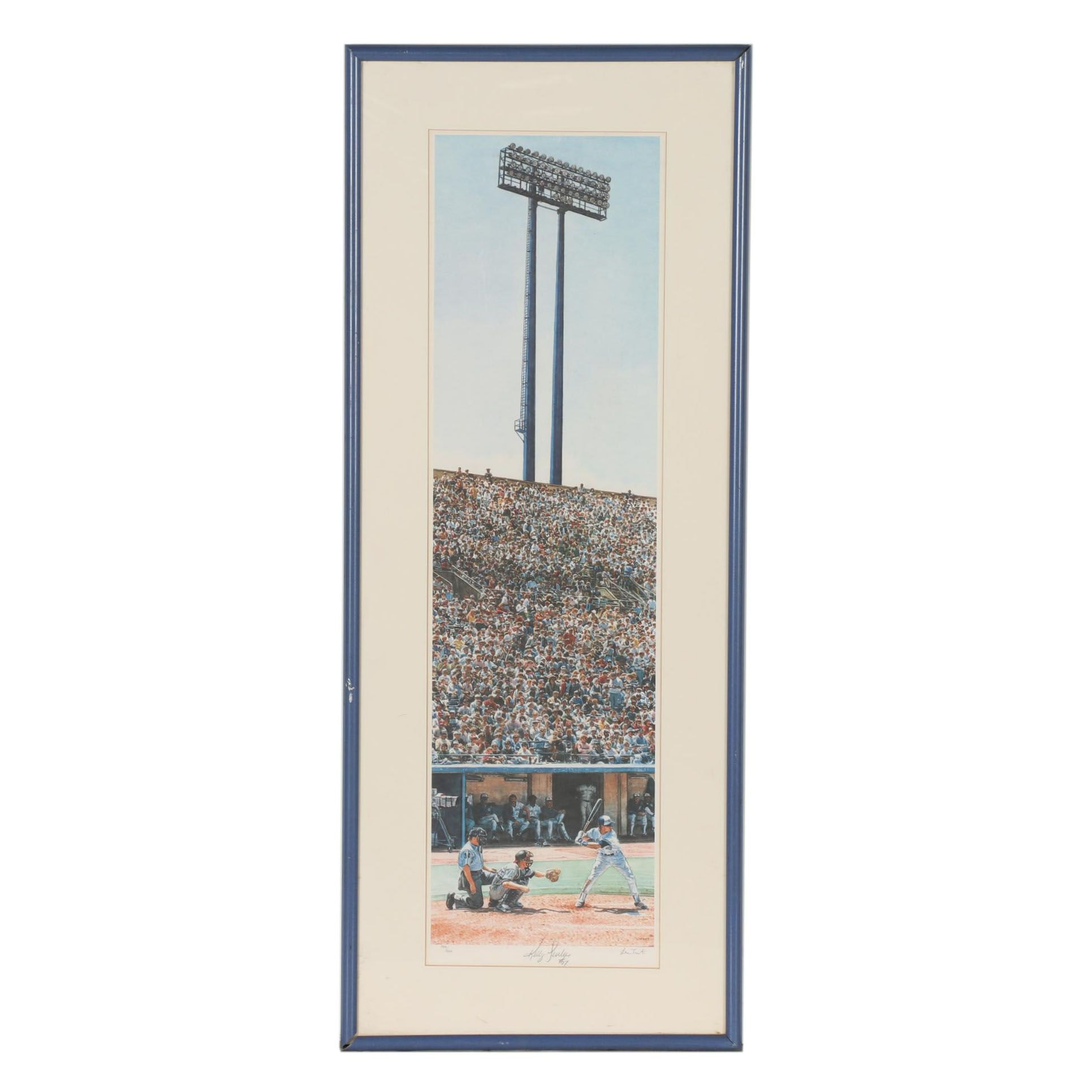 """Blue Jays Kelly Gruber Autographed Les Tait Offset Lithograph """"At Bat"""""""