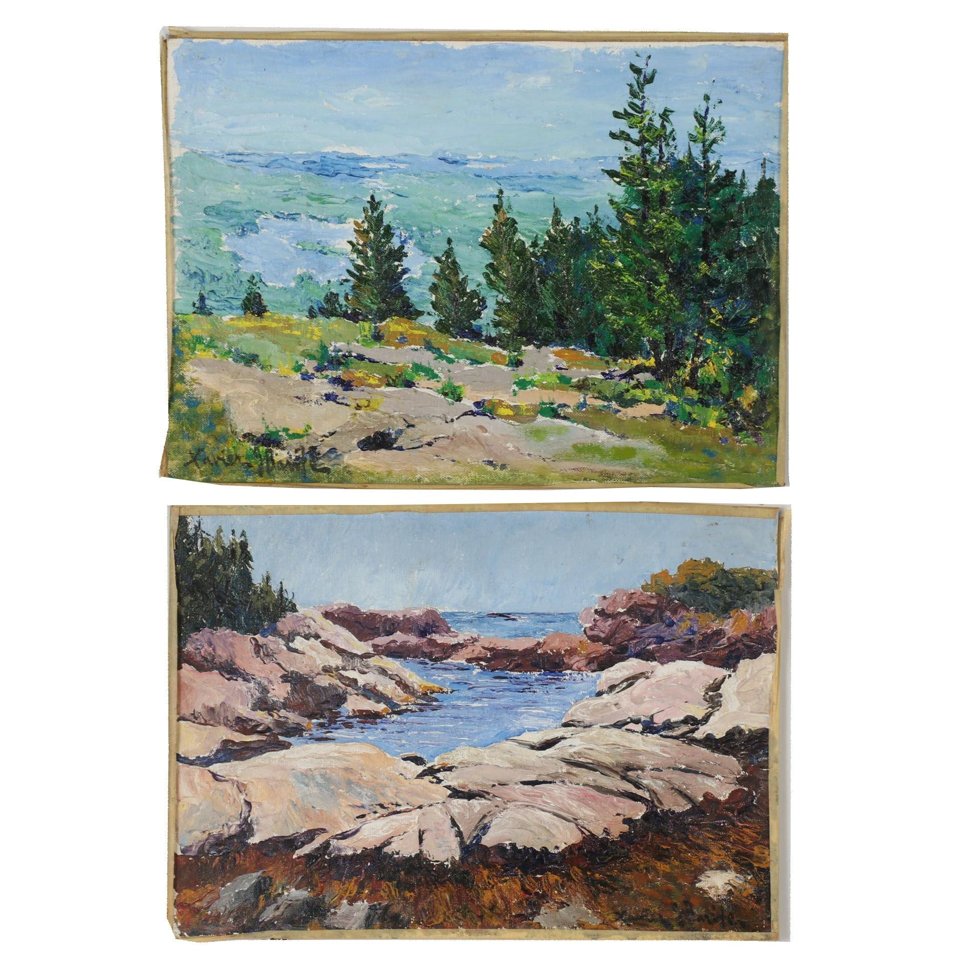 "Xavier J. Barile 1969 Landscape Oil Paintings ""Southwest from Hill"""