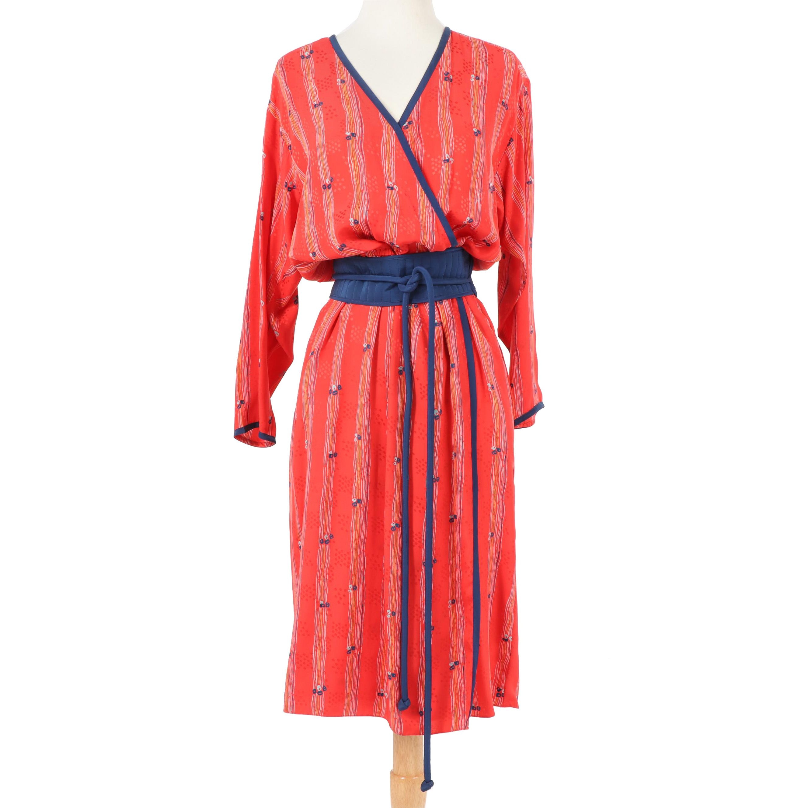 Mary McFadden for Jack Mulqueen Silk Wrap Dress with Belt, Vintage