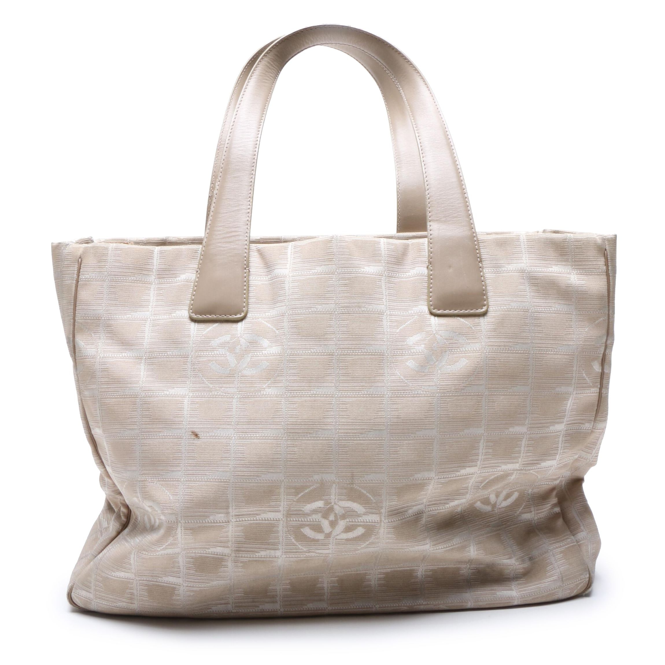 Chanel Beige Nylon New Travel Line Tote Bag with Leather Handles