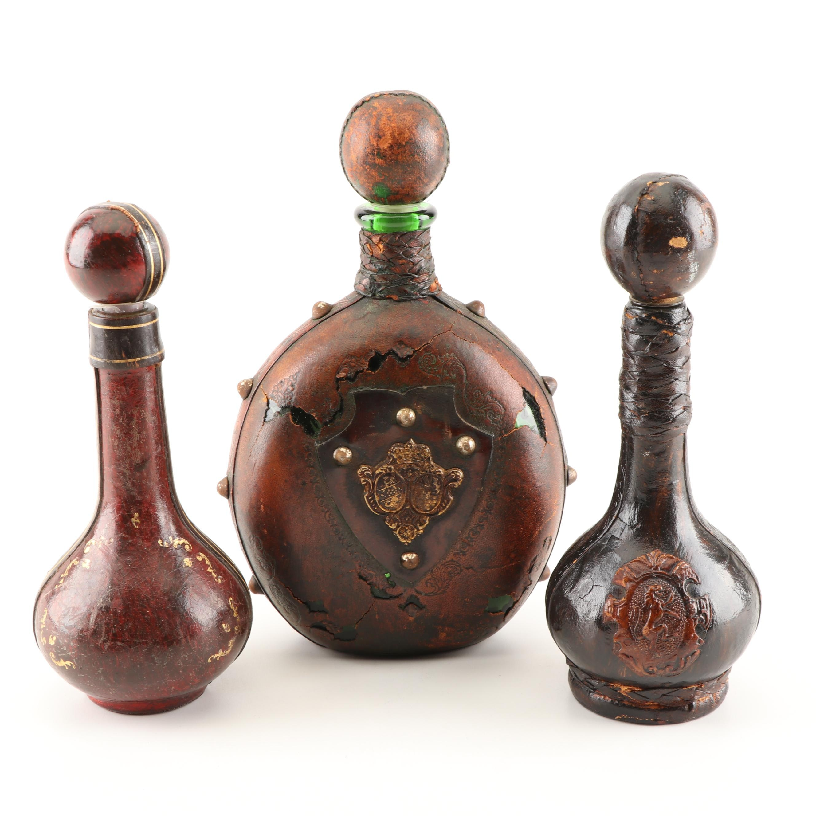Leather-Bound and Tooled Italian Decanters