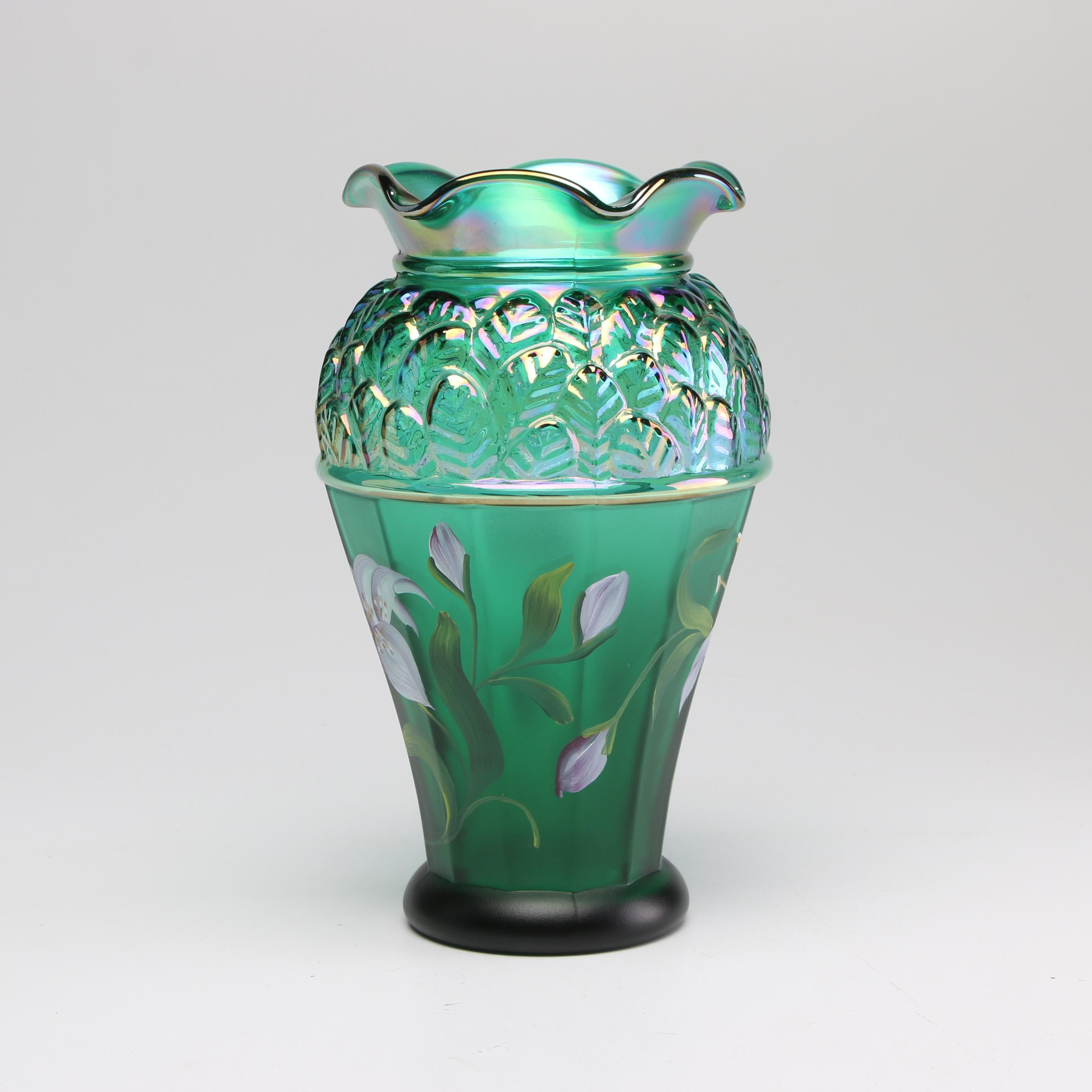 Hand-Painted Fenton Glass Vase from the Designer Showcase Series