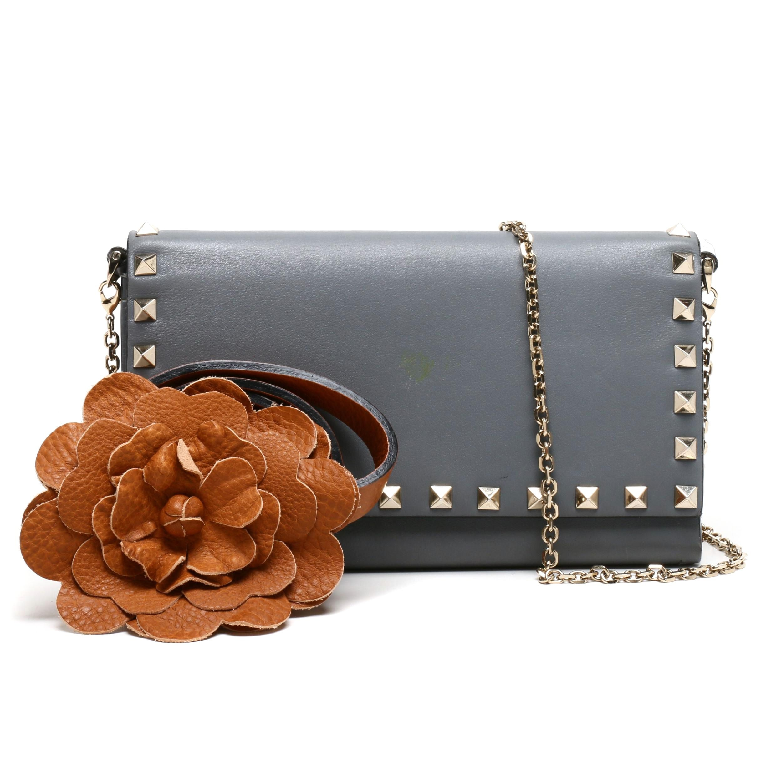 Valentino Garavani Gray Leather Rockstud Wallet on Chain Strap and Flower Belt