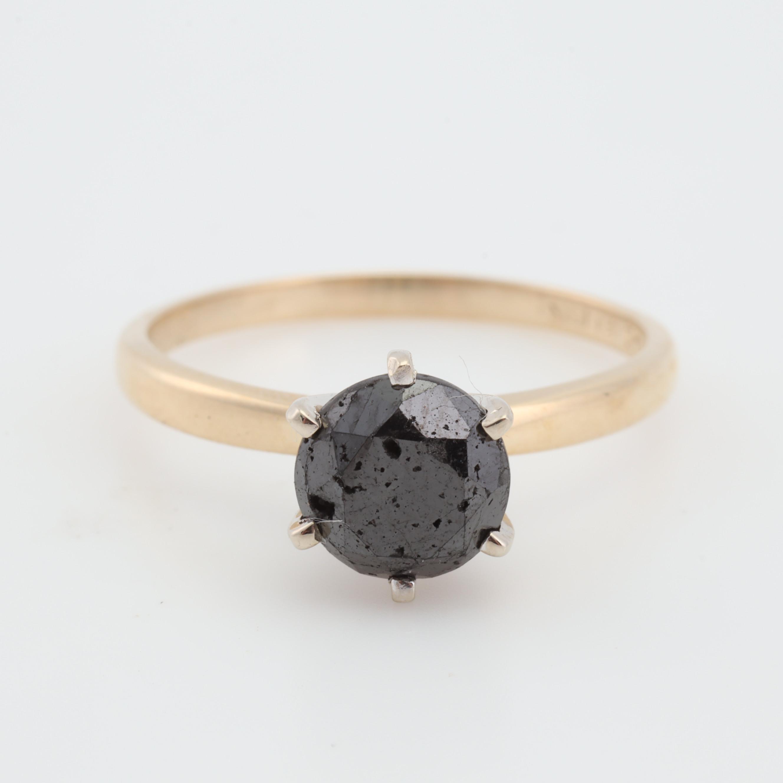 14K White Gold Black Diamond Solitaire Ring, 1.32 CT