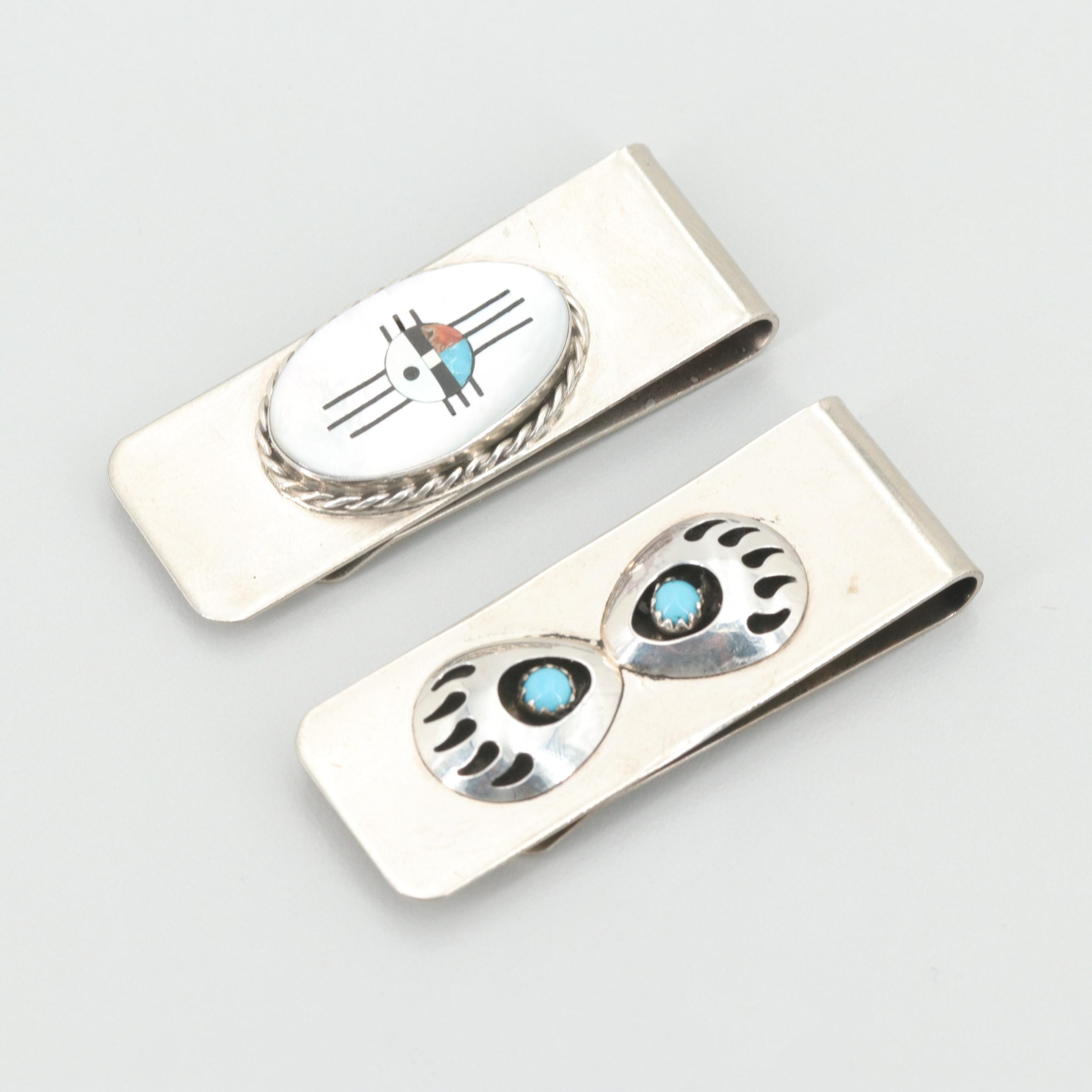 Turquoise and Gemstone Money Clips with Anders Hustito, Zuni and Sterling Accent