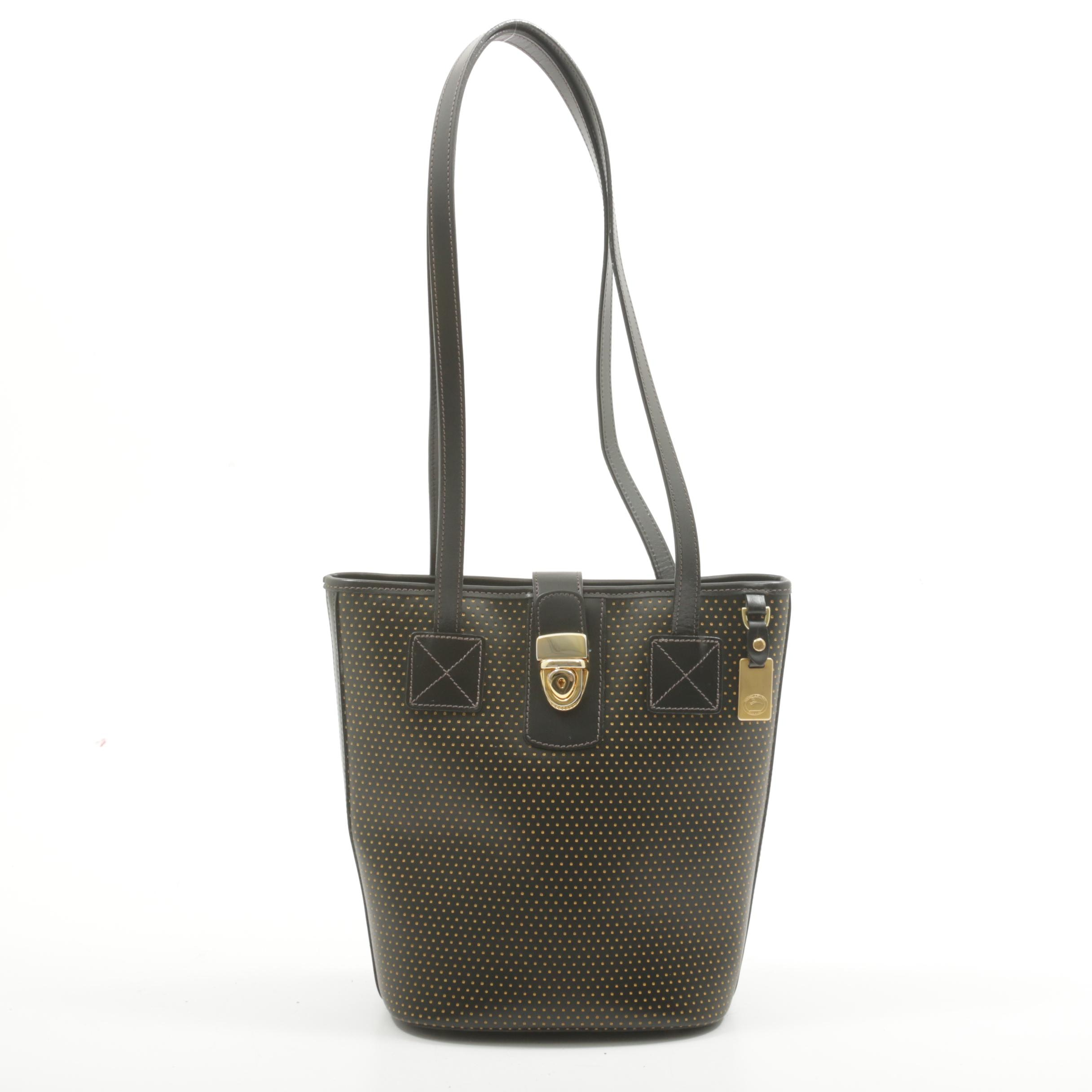 Dooney & Bourke Black Perforated Leather Handbag Accented in Yellow