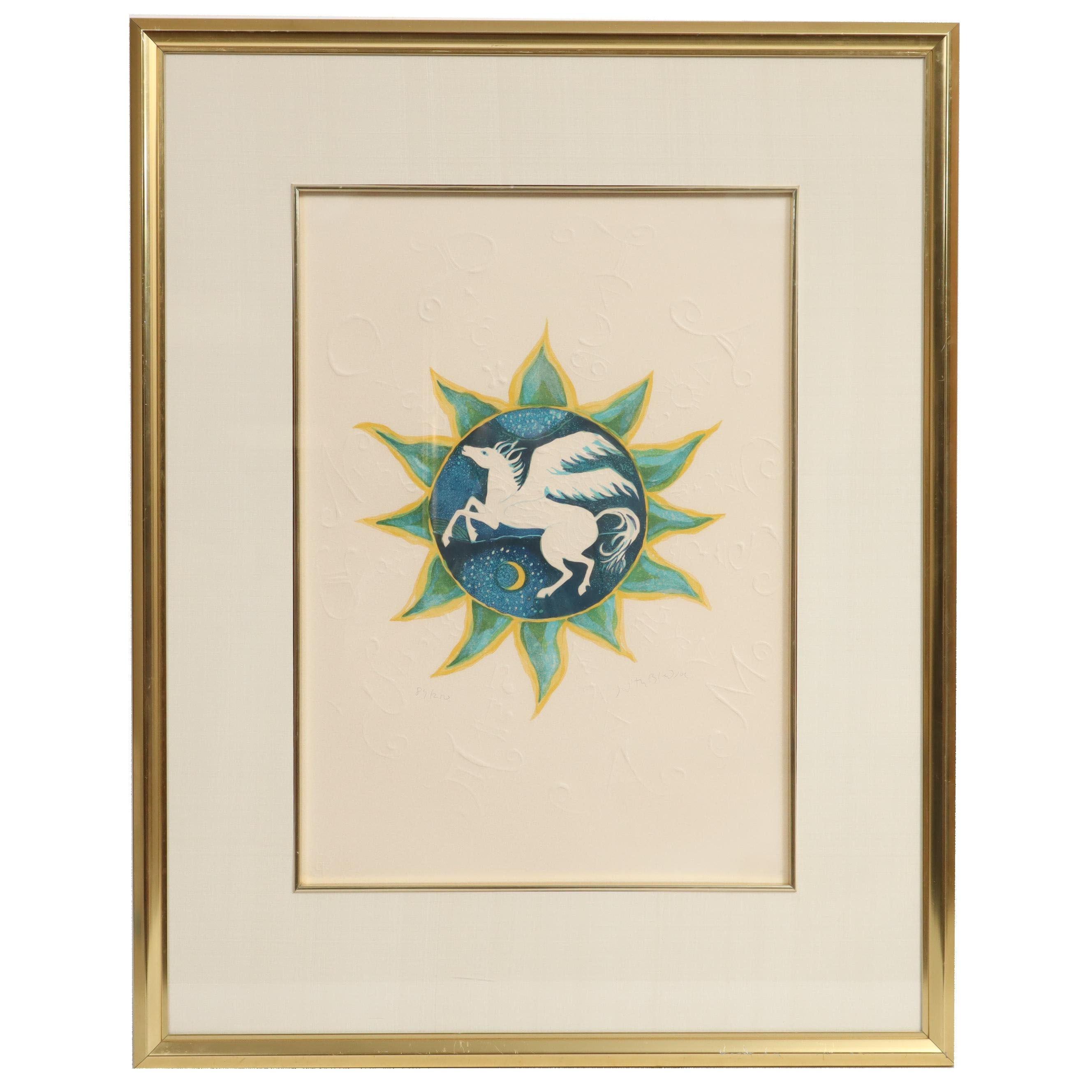 "Judith Bledsoe Embossed Serigraph ""Zodiac Folio"""