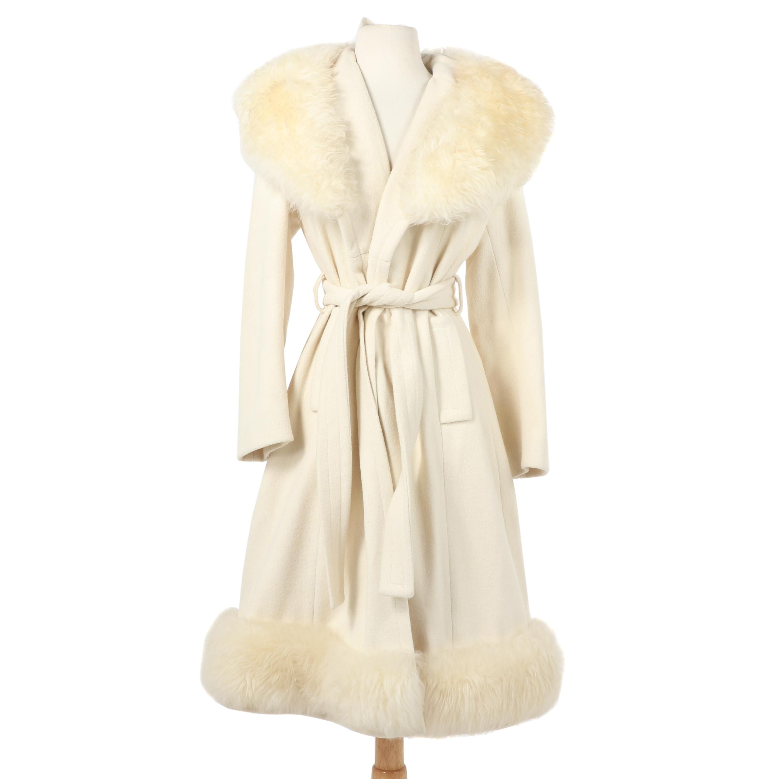 Women's Off-White Wool Wrap Coat with Shearling Collar and Trim, Vintage