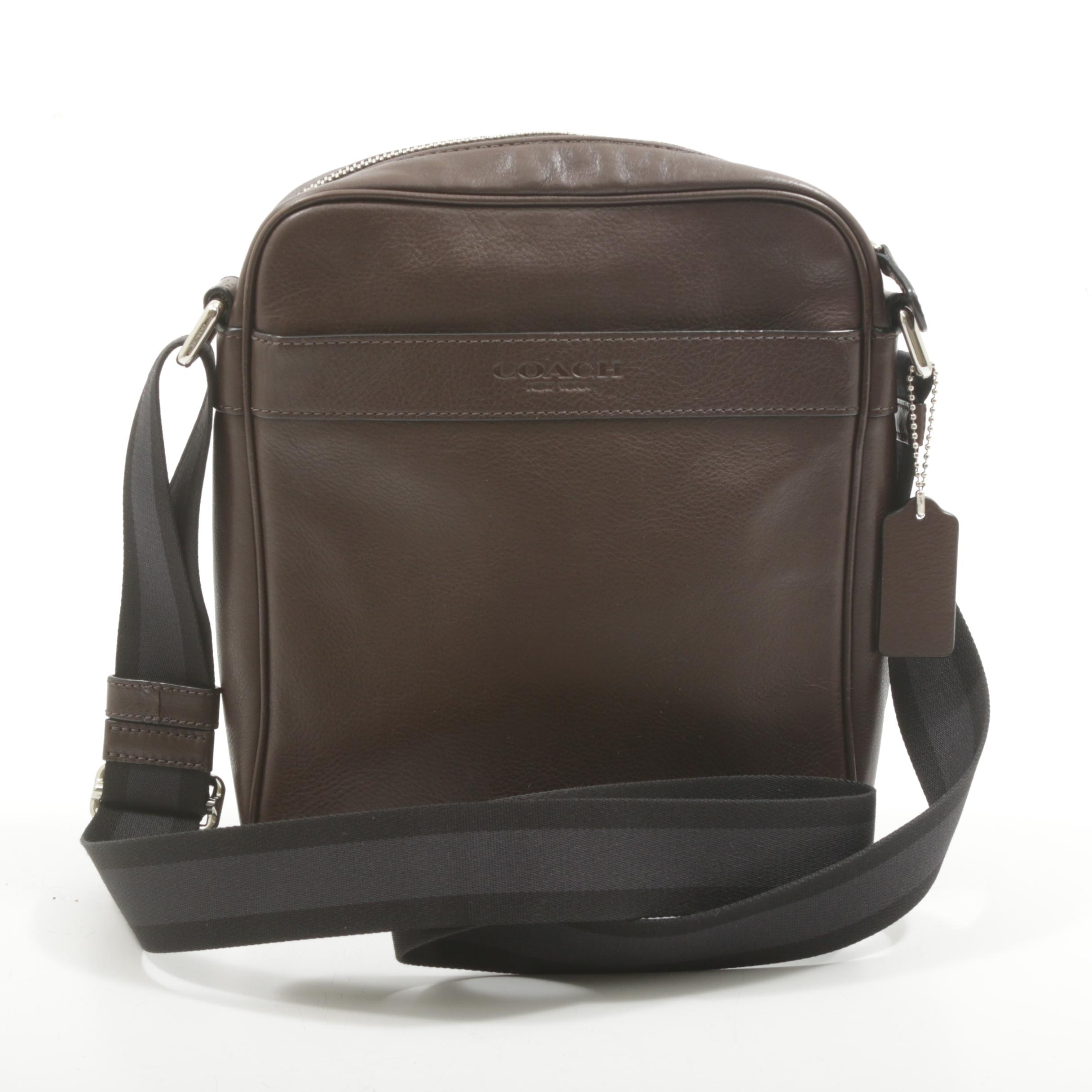 Coach New York Brown Grained Leather Crossbody Messenger Bag