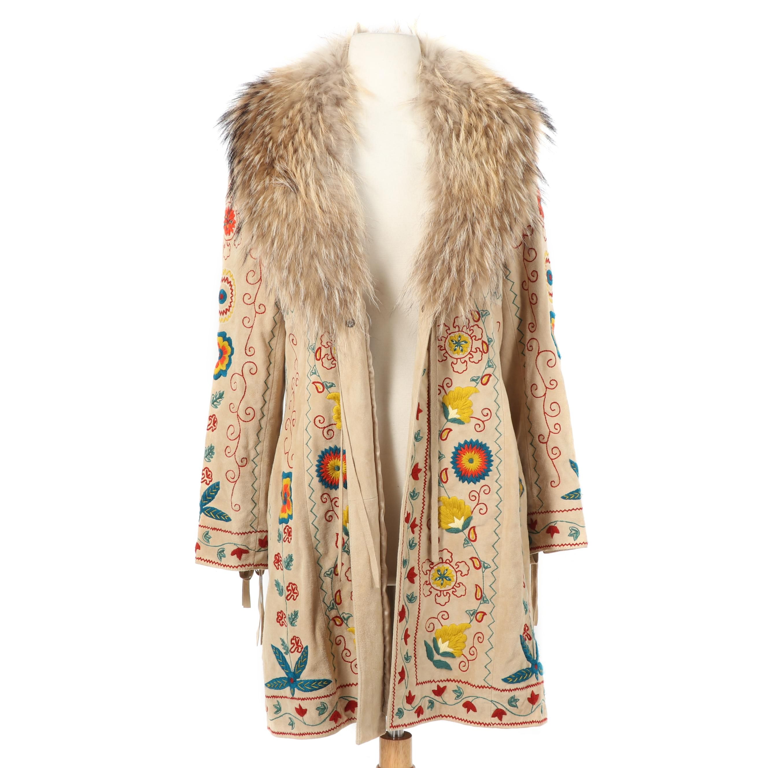 Double D Ranch Embroidered Suede Coat with Raccoon Fur Collar