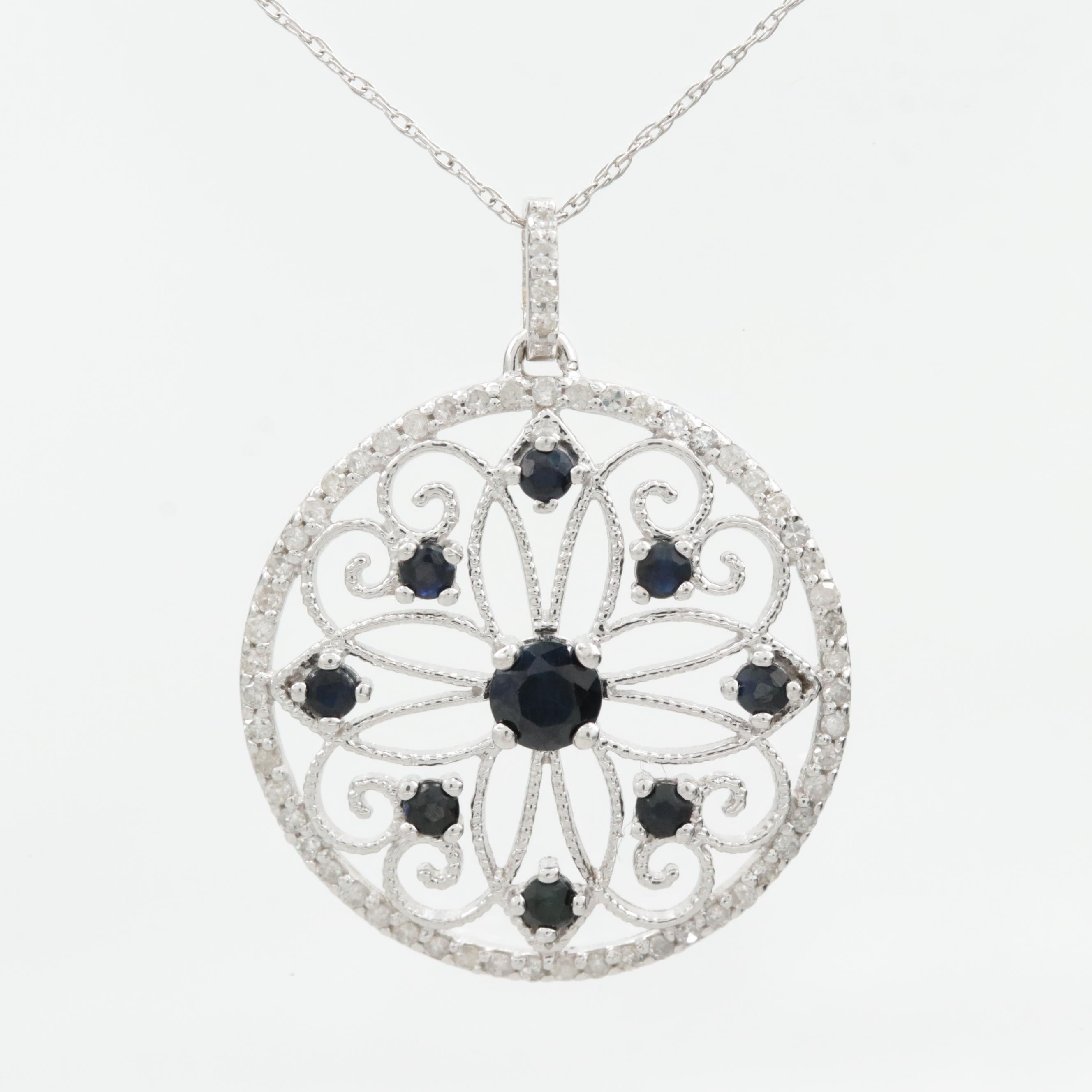 10K White Gold Blue Sapphire and Diamond Floral Necklace