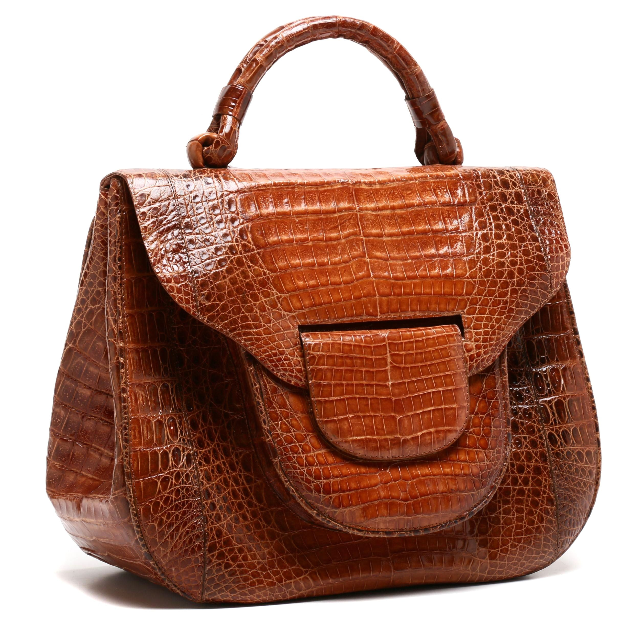 Nancy Gonzalez Light Brown Caiman Crocodile Satchel