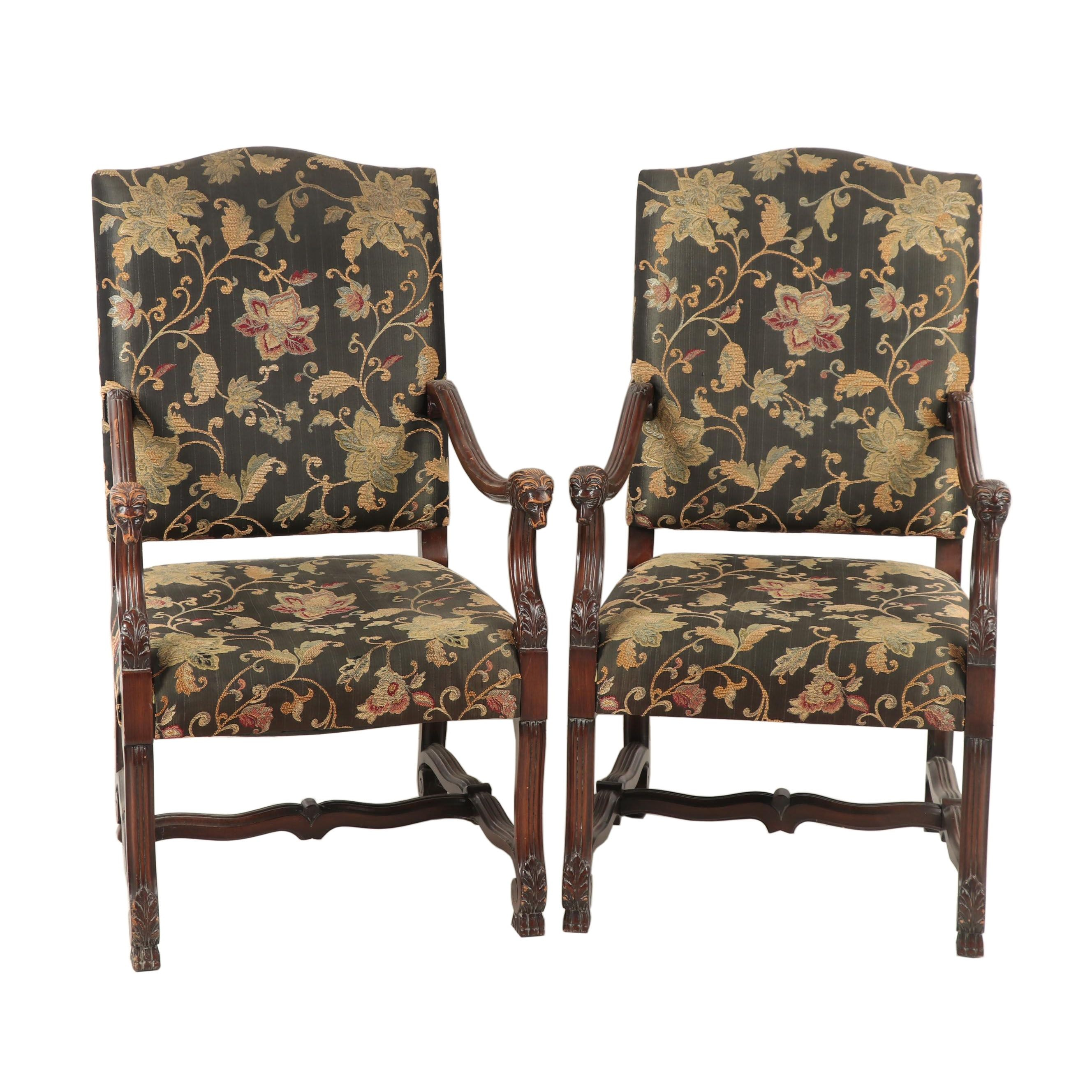 Pair of Baroque Style Wooden Upholstered Armchairs with Carved Lion's Heads