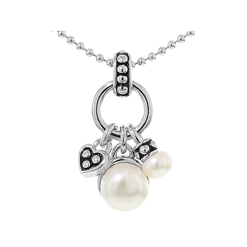 Sterling Silver Cultured pearl and Enamel Pendant with Chain