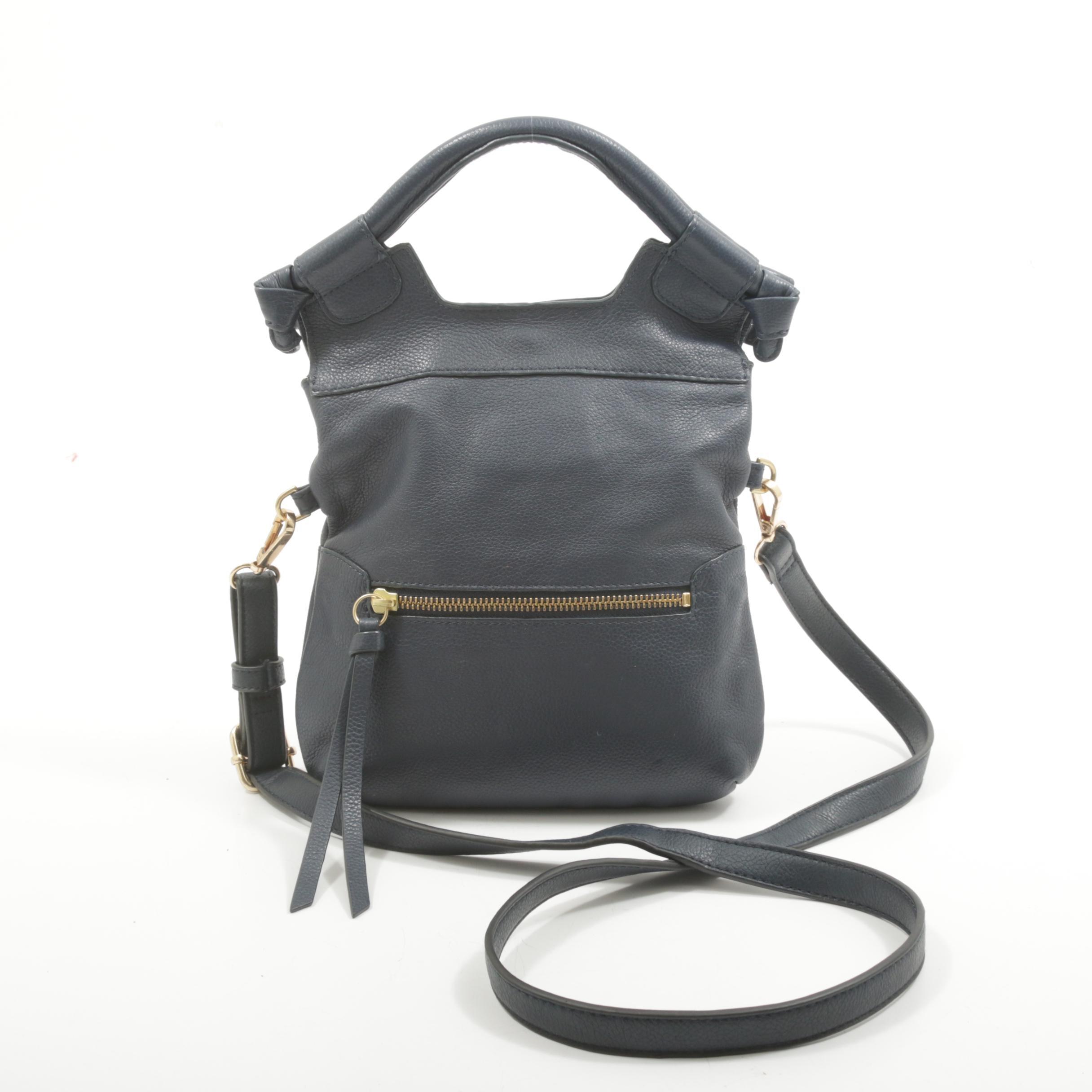 Foley + Corinna Navy Blue Grained Leather Crossbody Handbag