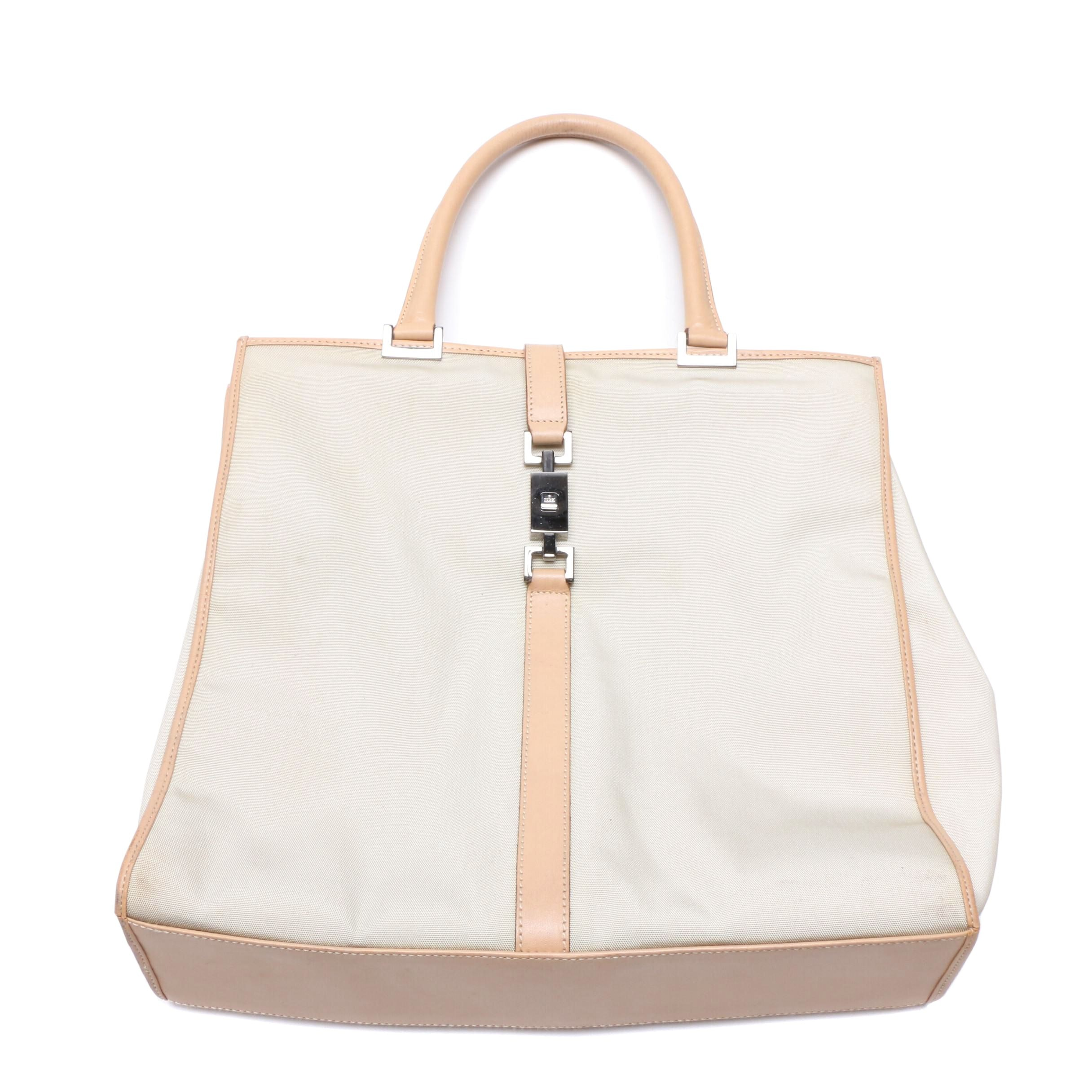 Gucci Beige Nylon and Leather Tote Bag