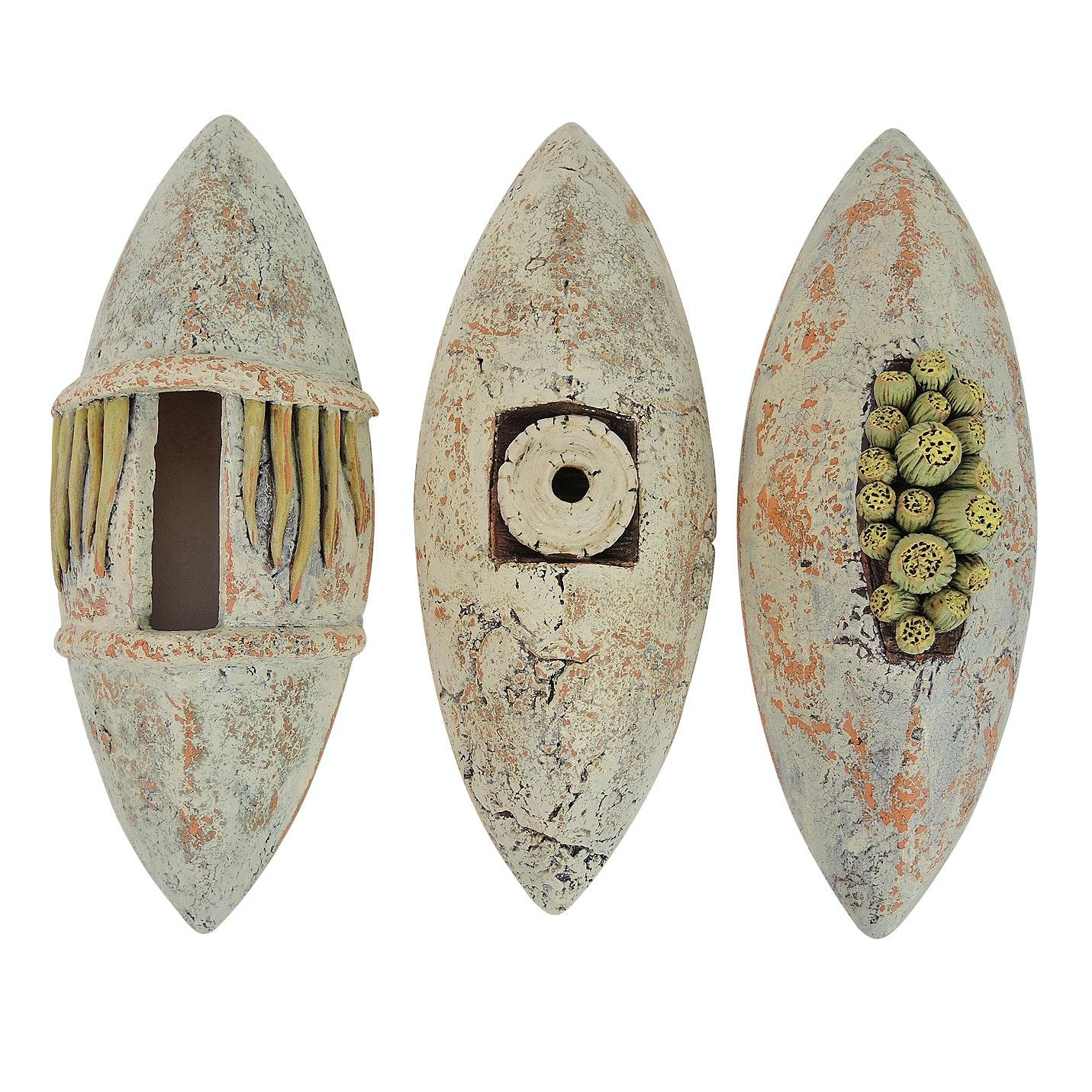 """Maasai Influenced Cast and Handbuilt Sculptural Terracotta """"Earth Shields"""""""