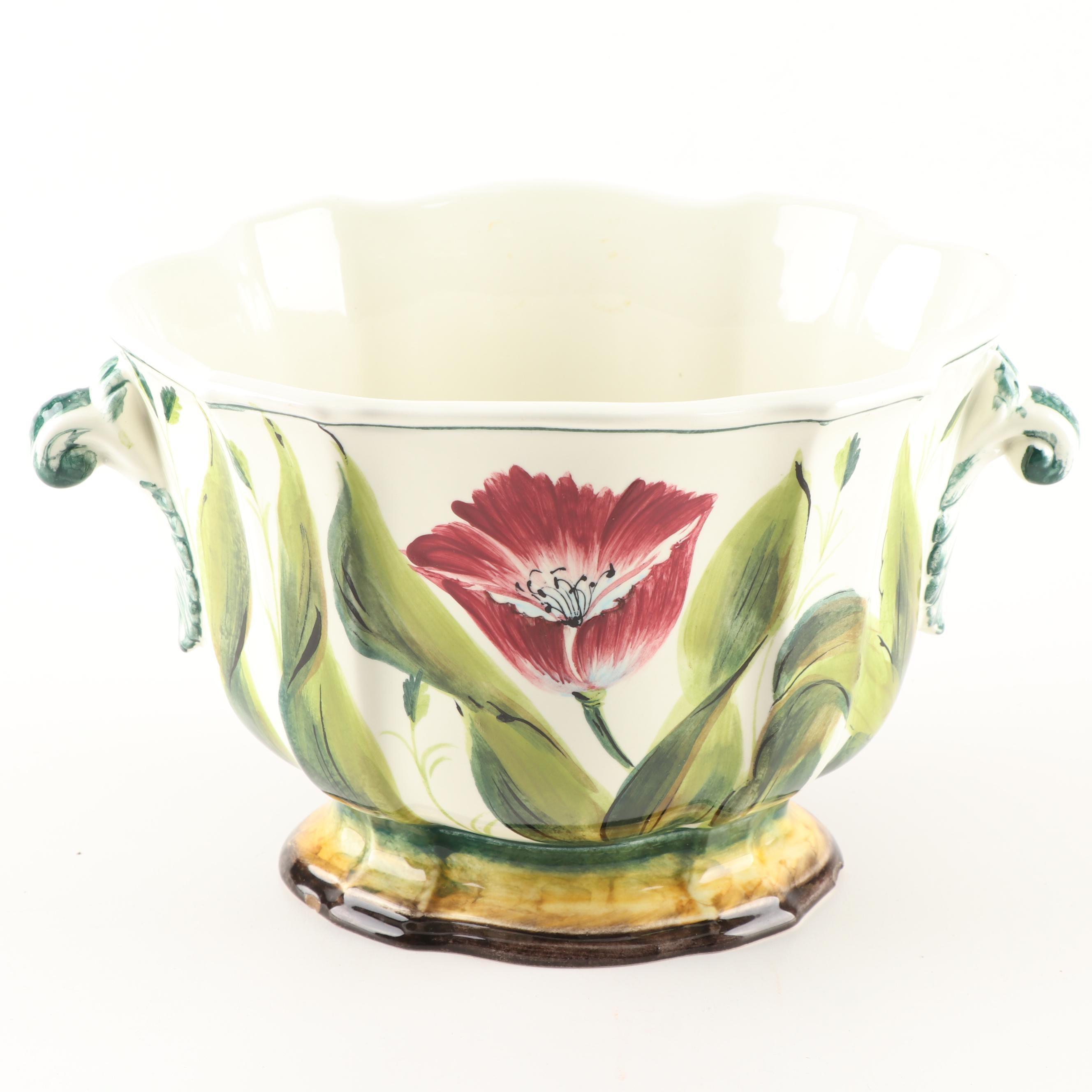 Chelsea House Tulip Motif Oval Cachepot
