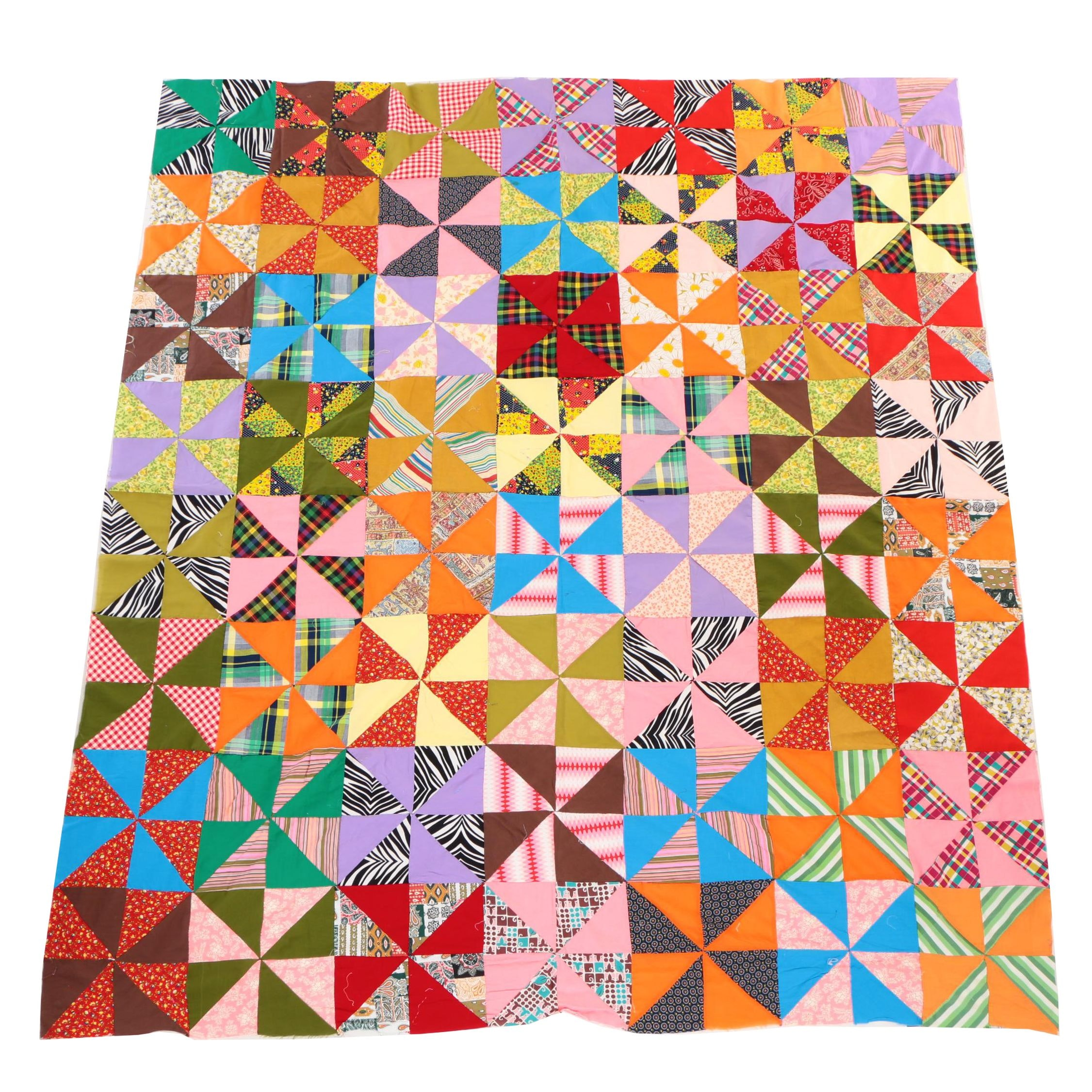 Handcrafted Half-Square Triangle Pattern Quilt Pieces