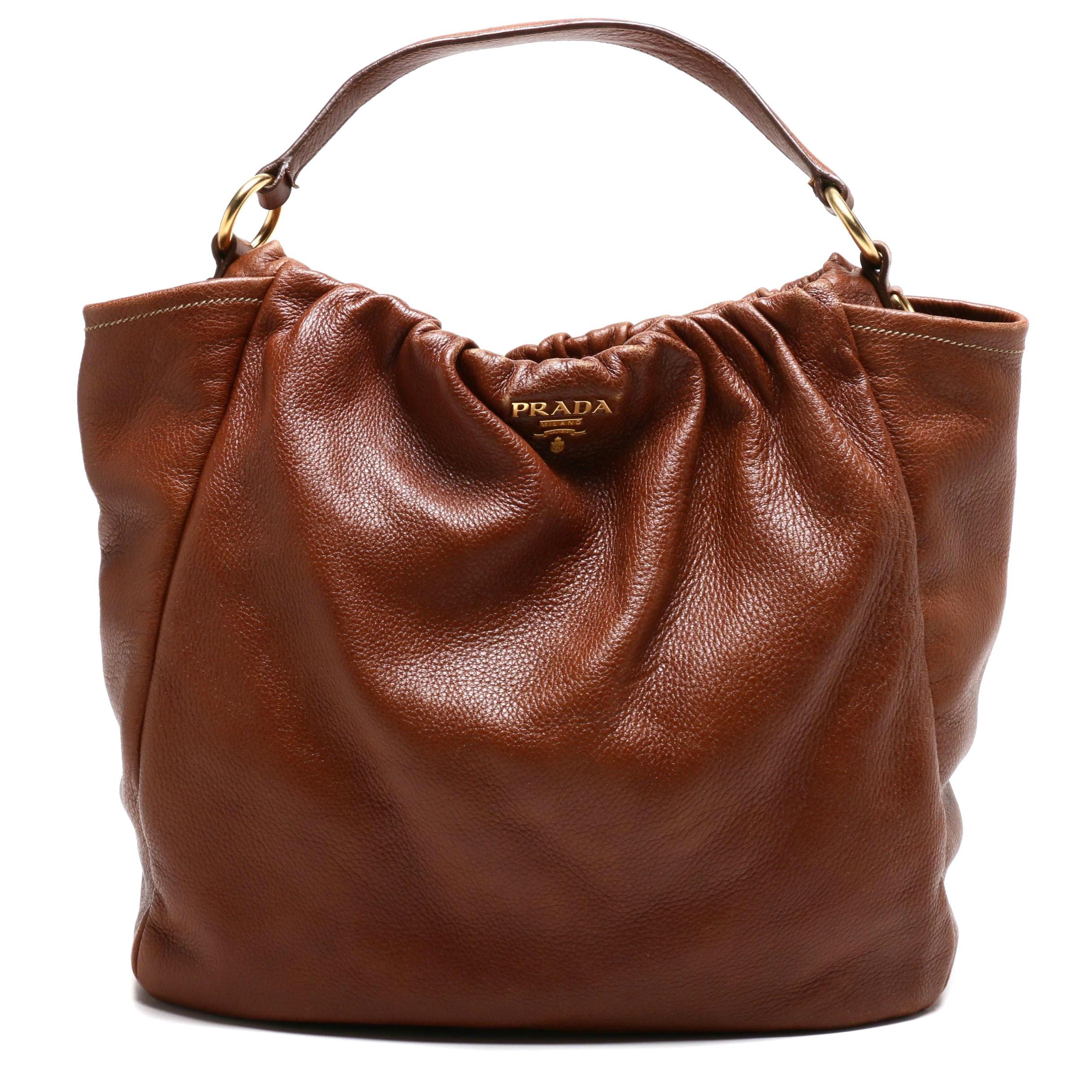 Prada Brown Vitello Daino Leather Hobo Bag