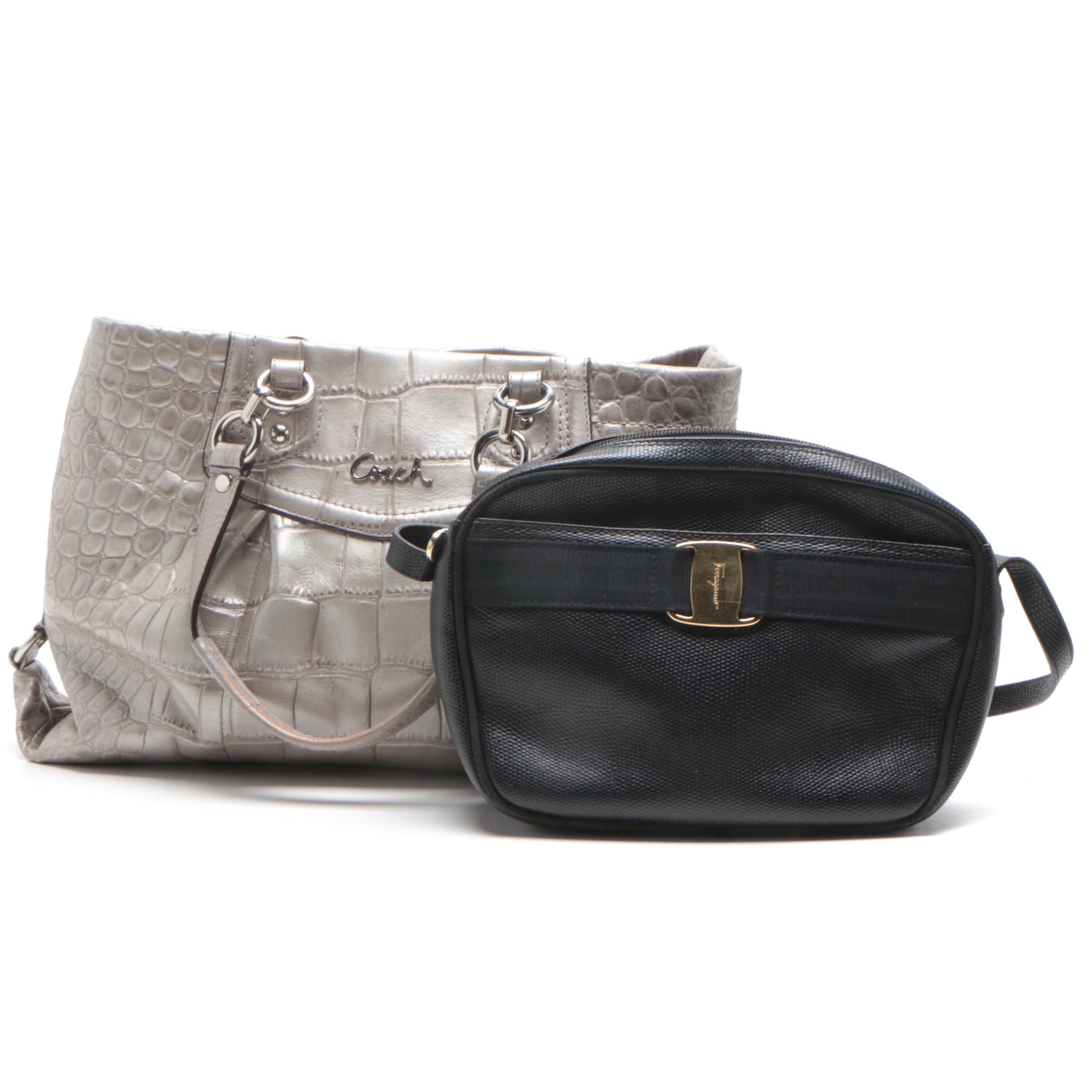 Salvatore Ferragamo Black Leather Valla Shoulder Bag and Coach Ashley Tote Bag