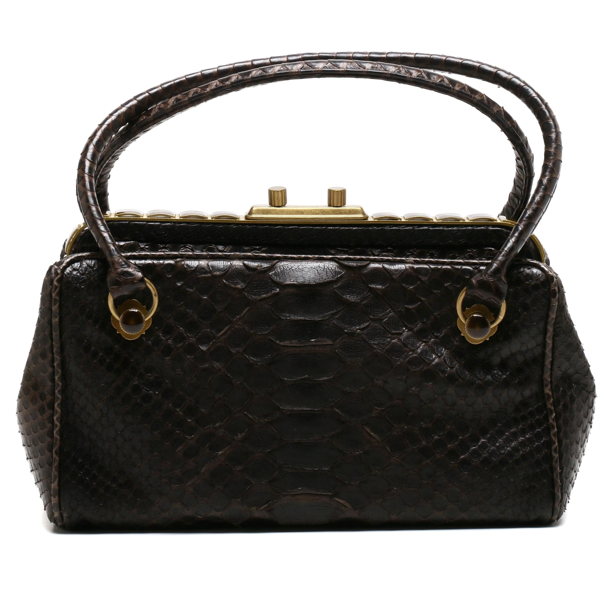 Bottega Veneta Dark Brown Python Skin Frame Bag