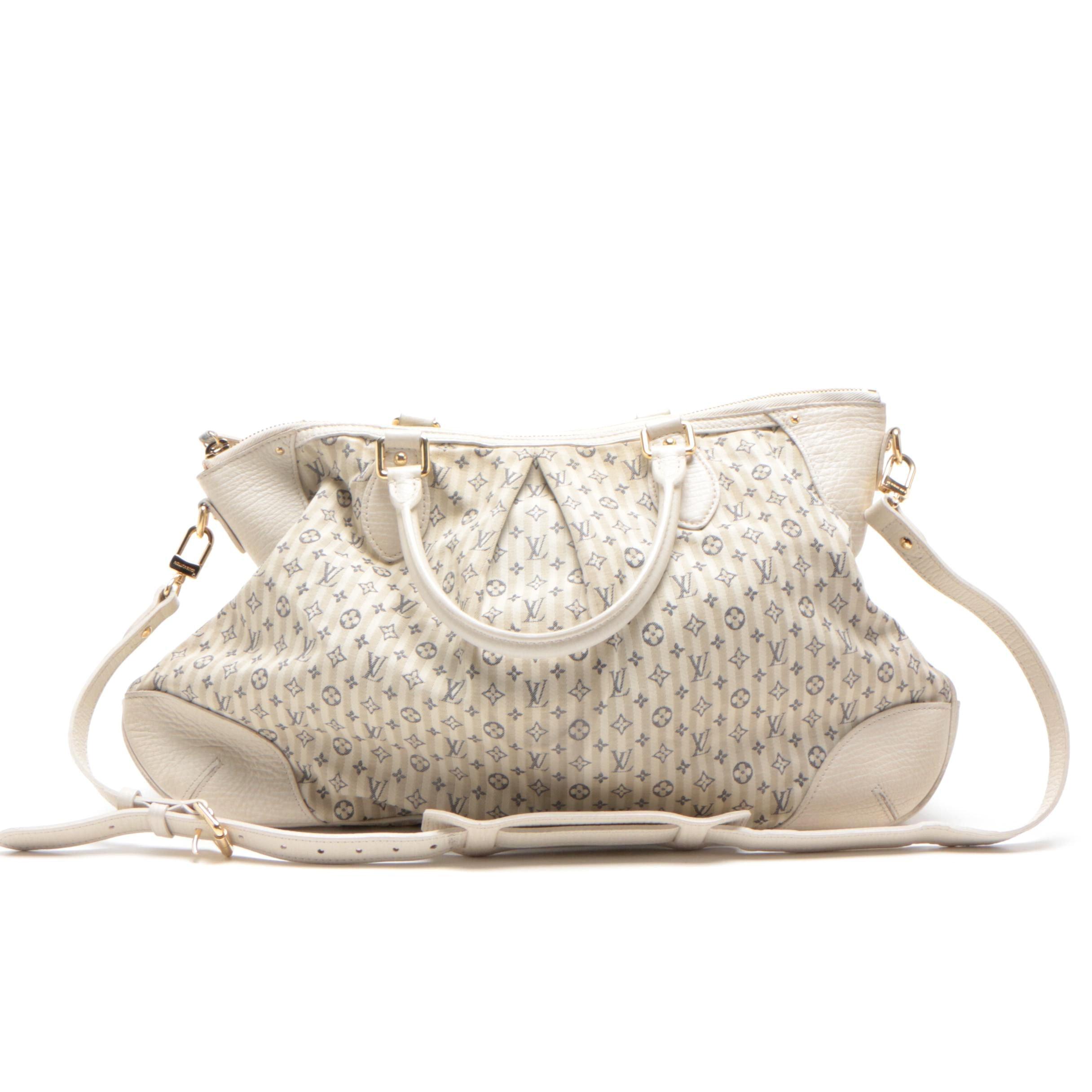 Louis Vuitton White and Blue Monogram Mini Lin Croisette Marina GM Bag