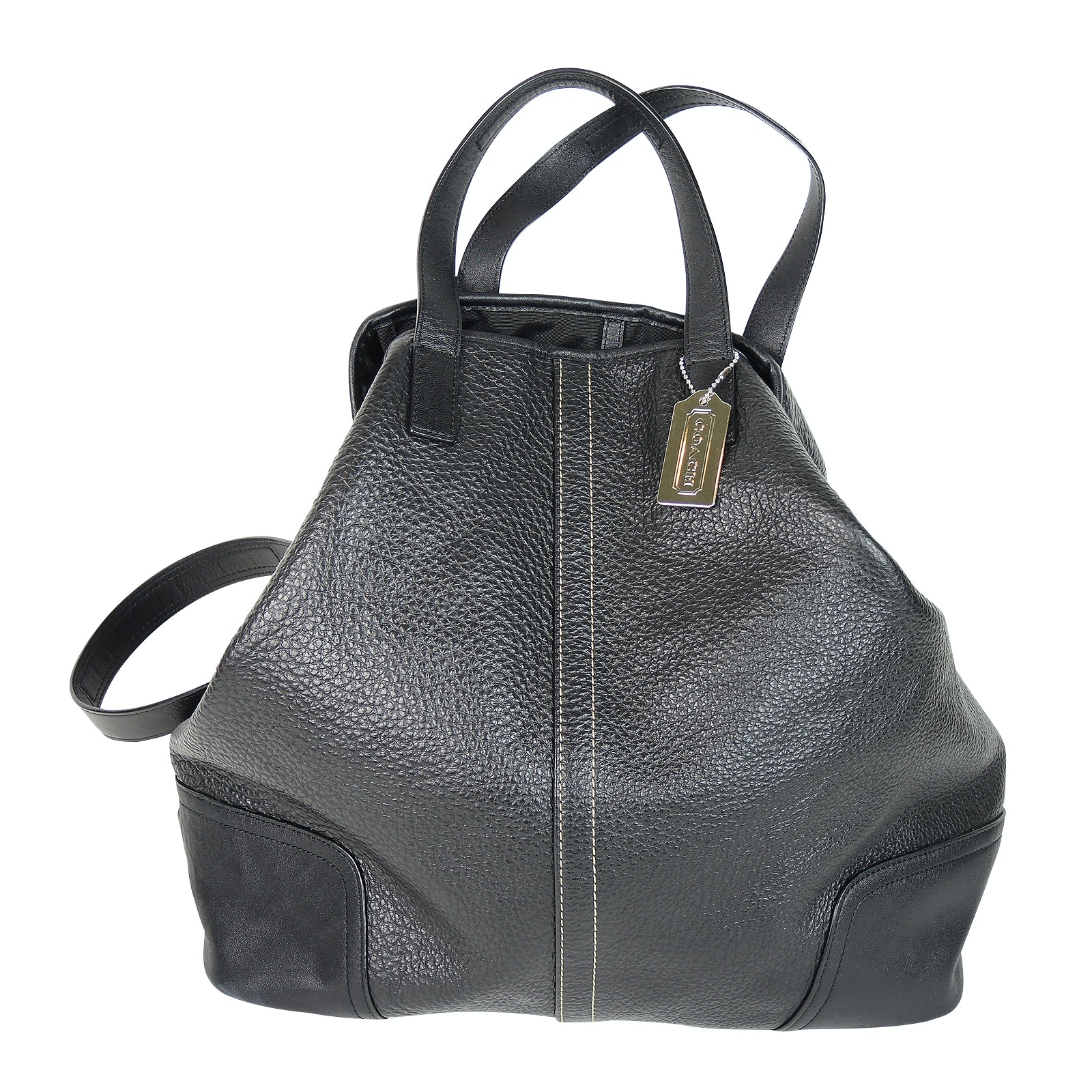 Coach New York Hadley Luxe Black Leather Shoulder Bag