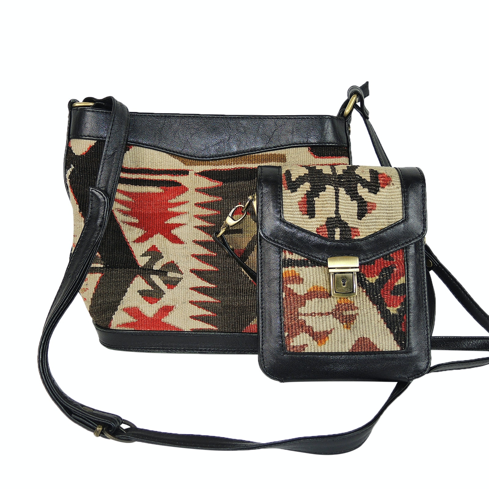 Kilim Style Shoulder Bag and Crossbody Wallet with Leather Trim