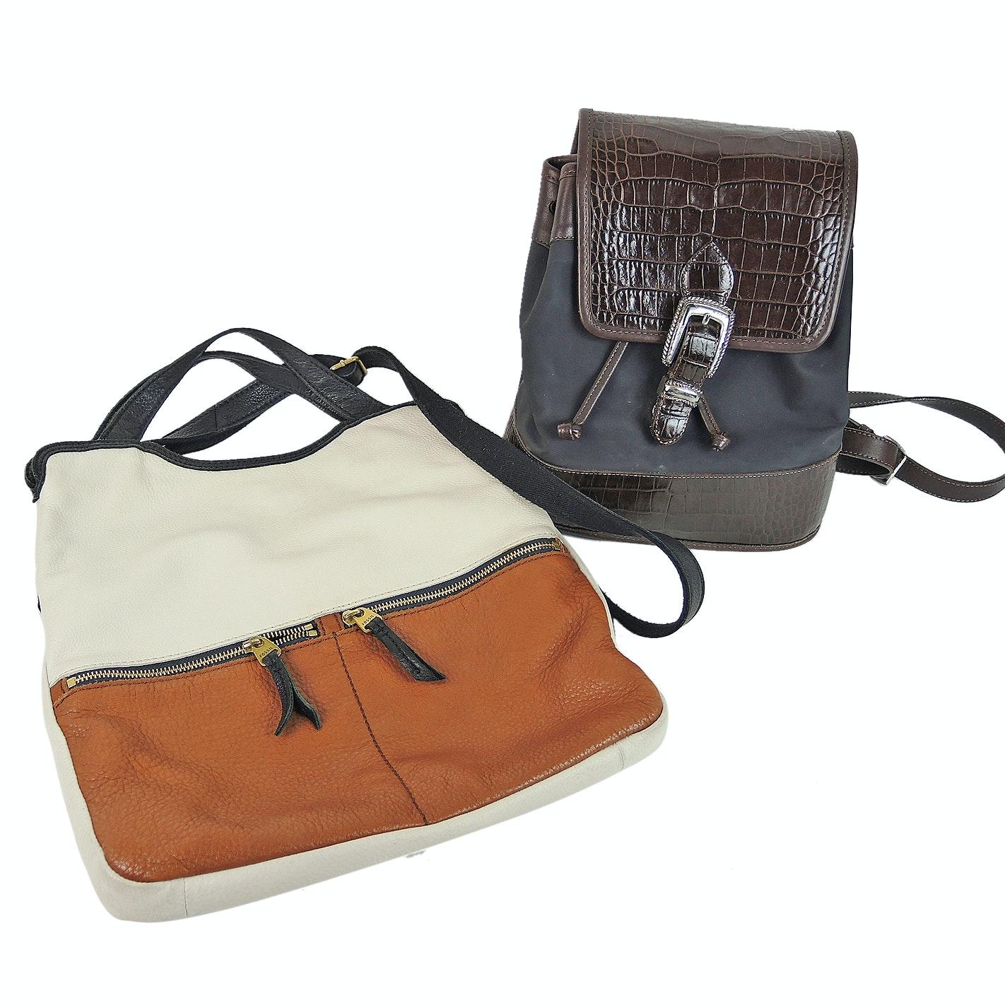 Brighton Croc Embossed Leather Trimmed Backpack and Fossil Leather Shoulder Bag