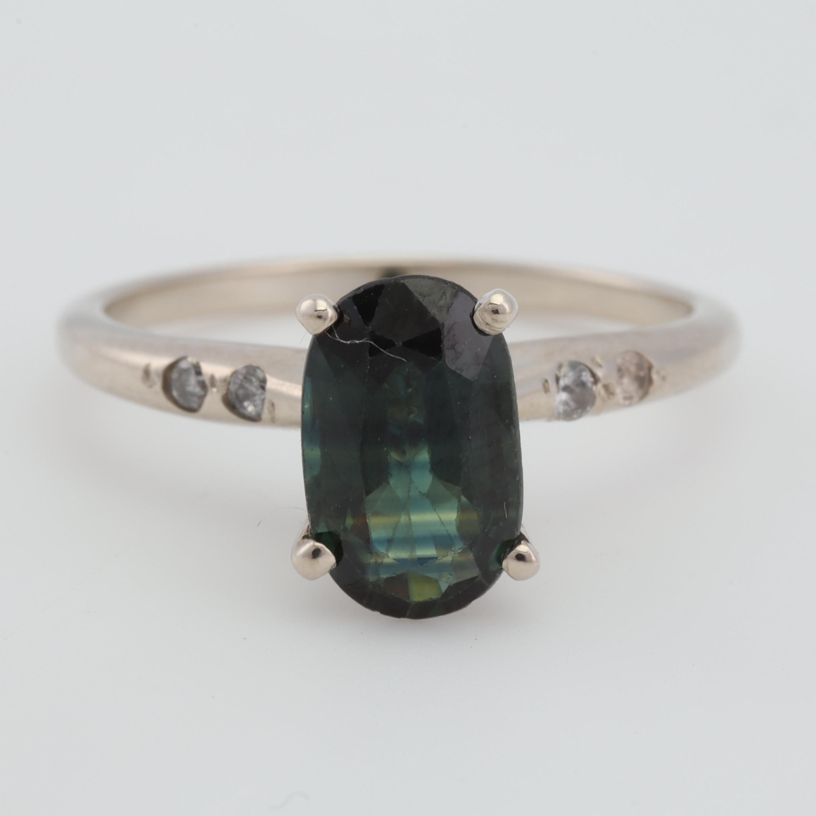 14K White Gold Green Sapphire and Diamond Ring, 1.58 CT Sapphire