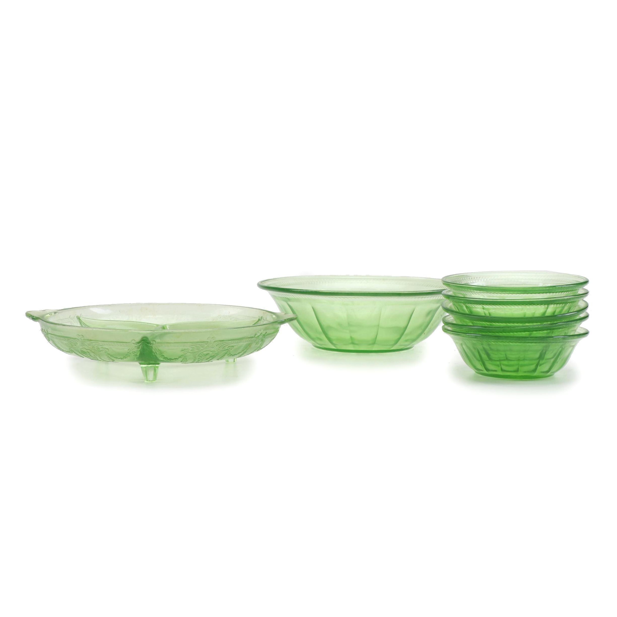 Fostoria Pressed Glass Serving Bowl, Fruit Bowls, and Divided Condiment Bowl