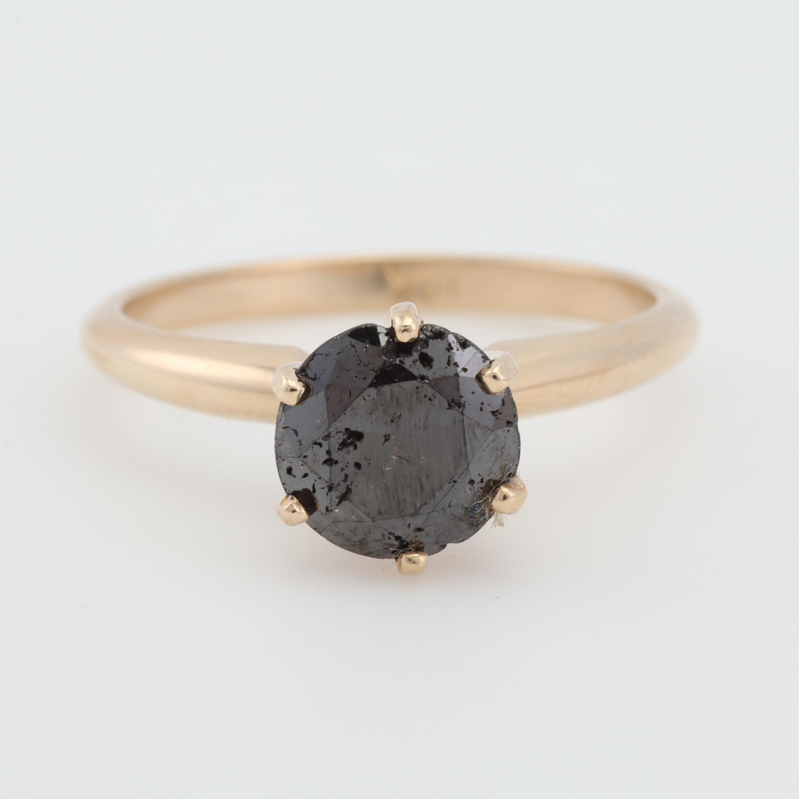 14K Yellow Gold Black Diamond Solitaire Ring, 1.20 CT