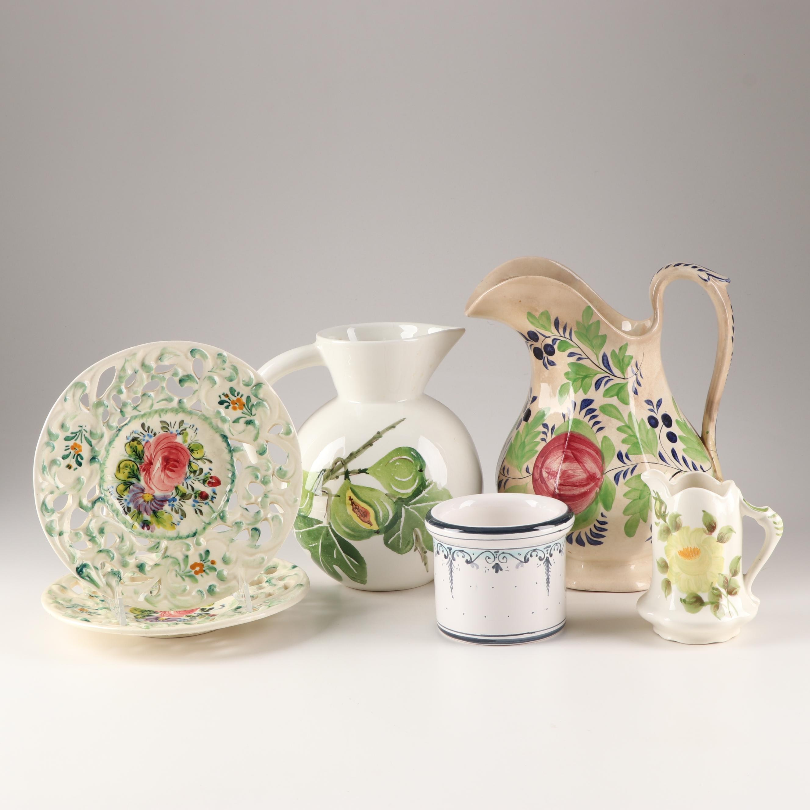 Fruit and Floral Decorative Tableware Featuring Gaudy Dutch Pitcher