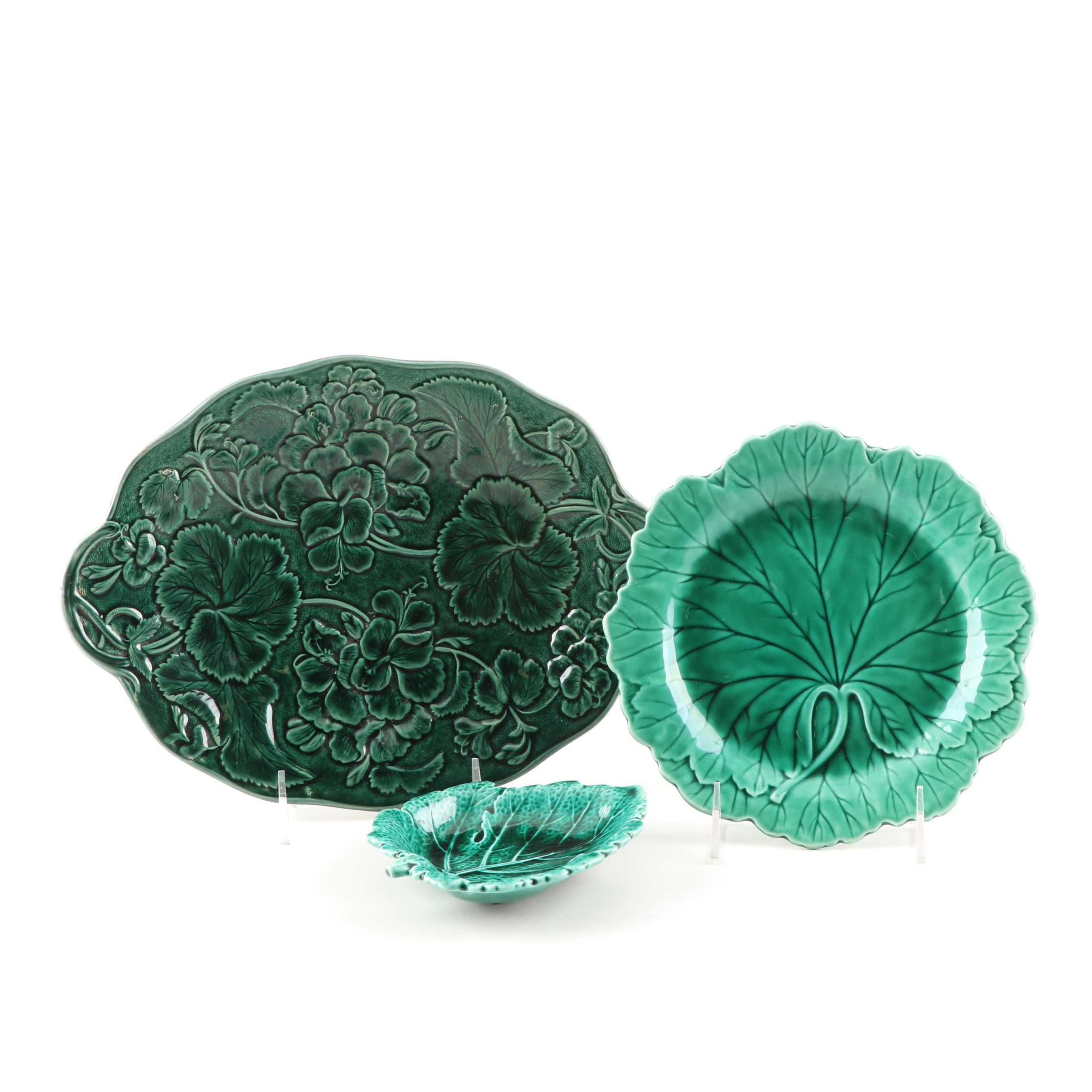 Green Glazed Majolica Leaf Plates Featuring Wedgwood