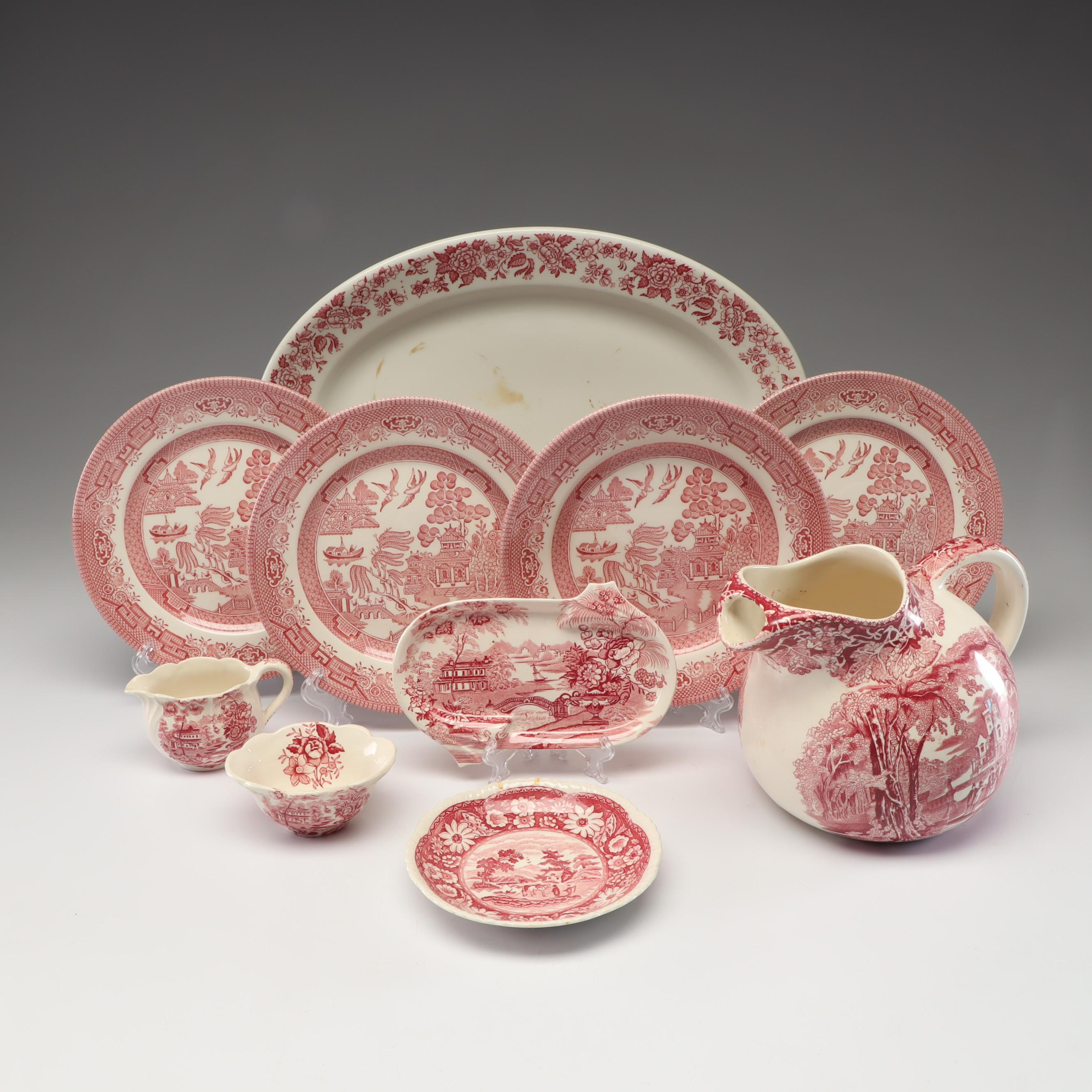 Royal Staffordshire by Clarice Cliff, Mason's and Other Pink Transfer Tableware