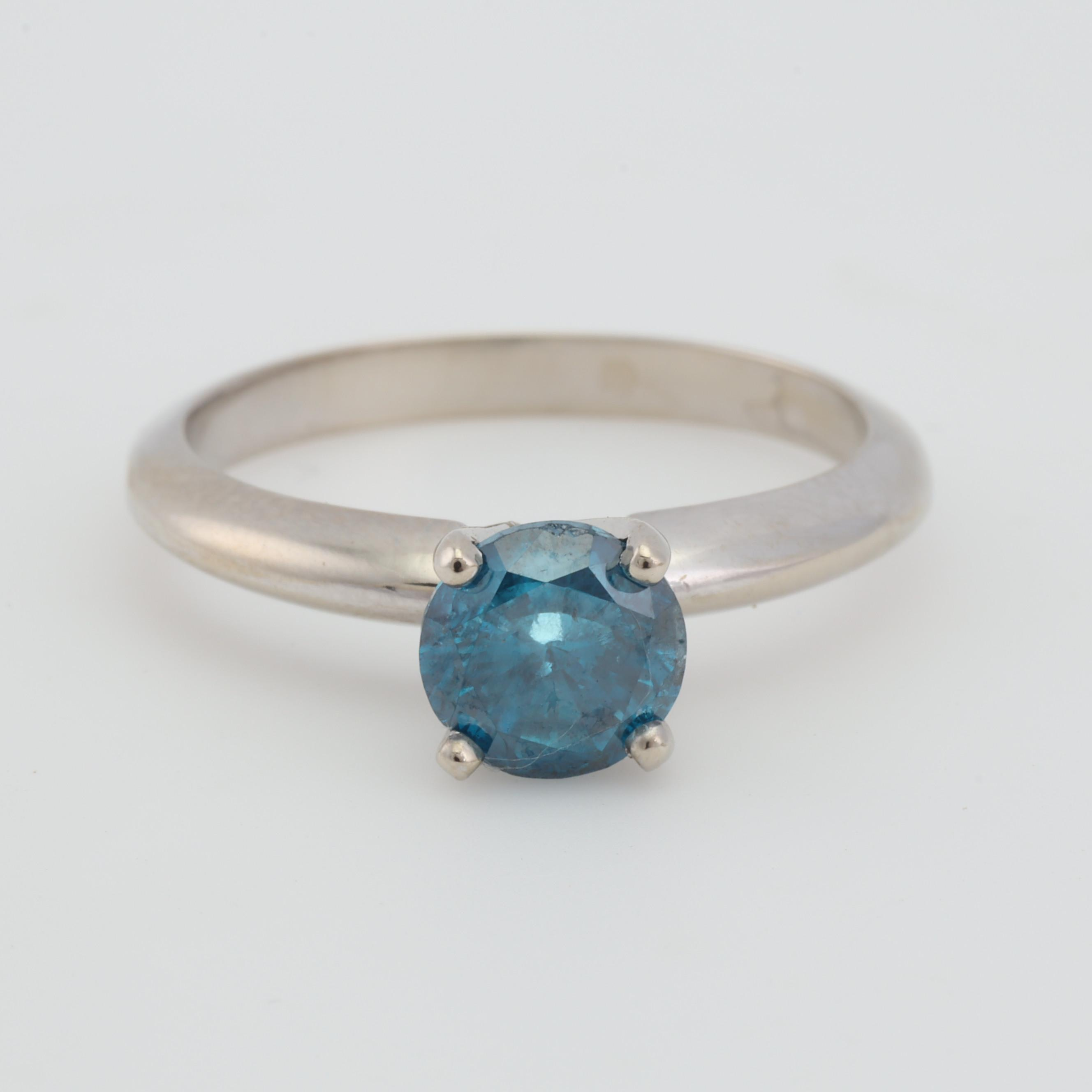 14K White Gold Irradiated Blue Diamond Solitaire Ring