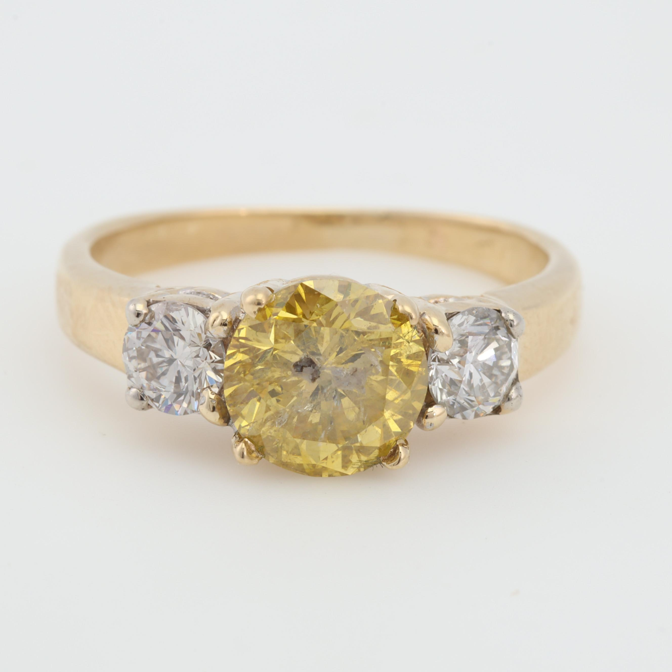 18K Yellow Gold Natural and Irradiated Yellow Diamond Ring, 1.55 CTW