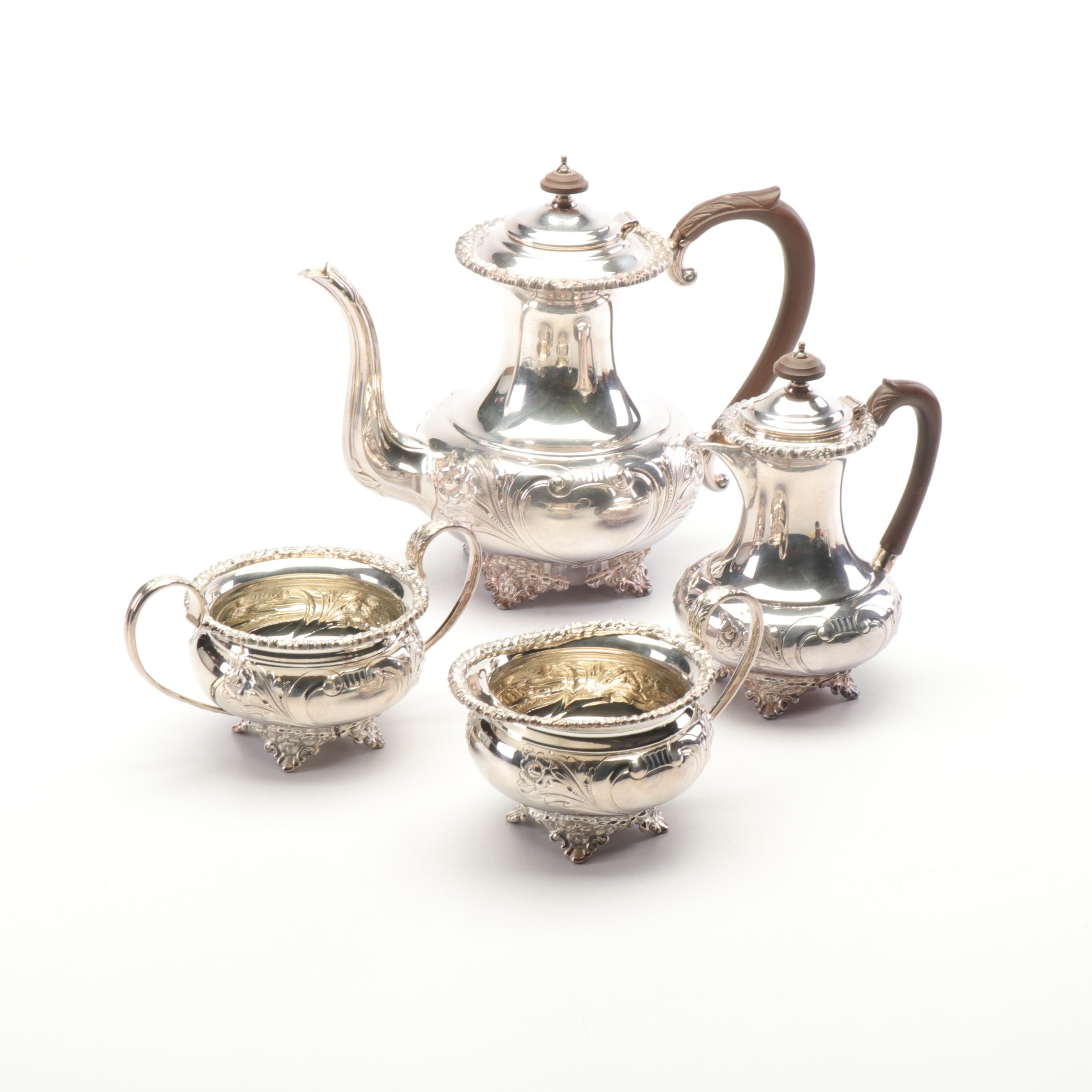 "Hand Chased ""English Design"" Sheffield Reproduction Silver Plated Tea Service"